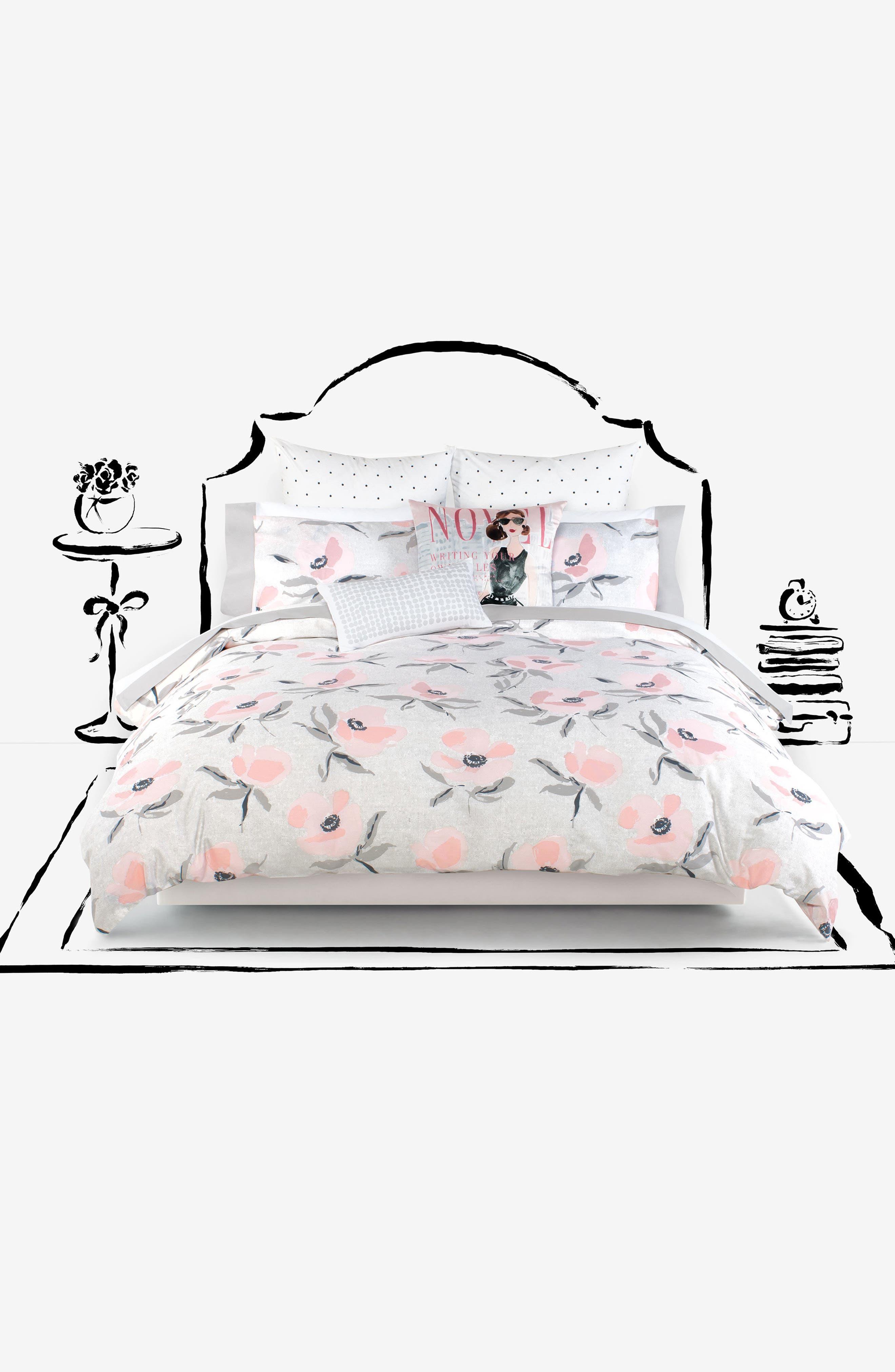 poppies comforter & sham set,                             Alternate thumbnail 4, color,                             Pink