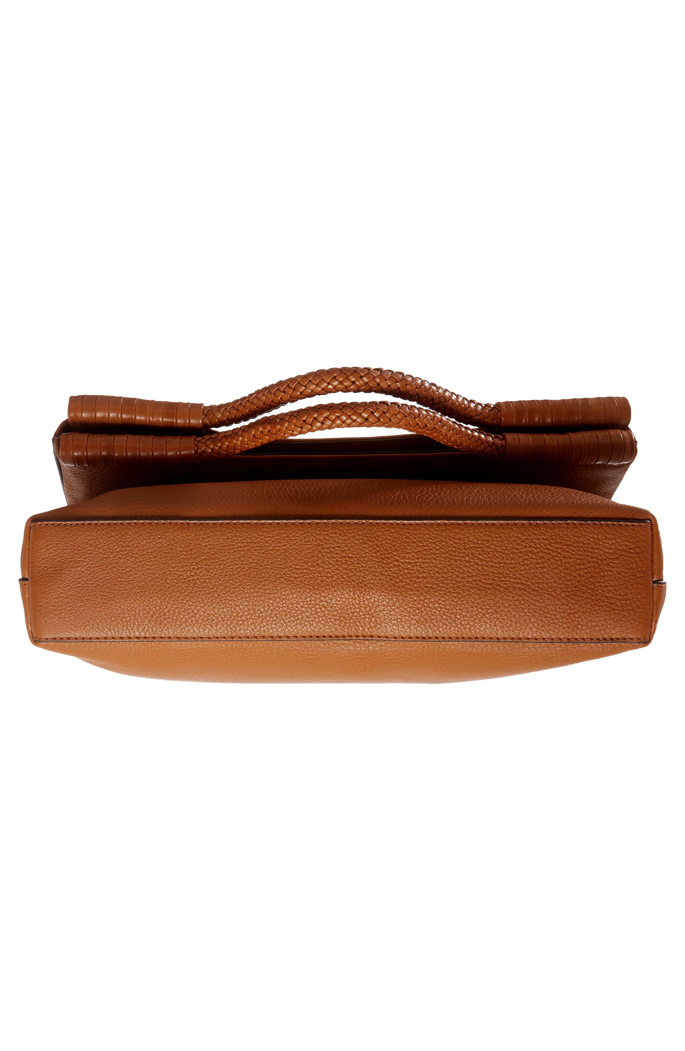 Convertible Leather Crossbody Bag,                             Alternate thumbnail 6, color,                             Saddle