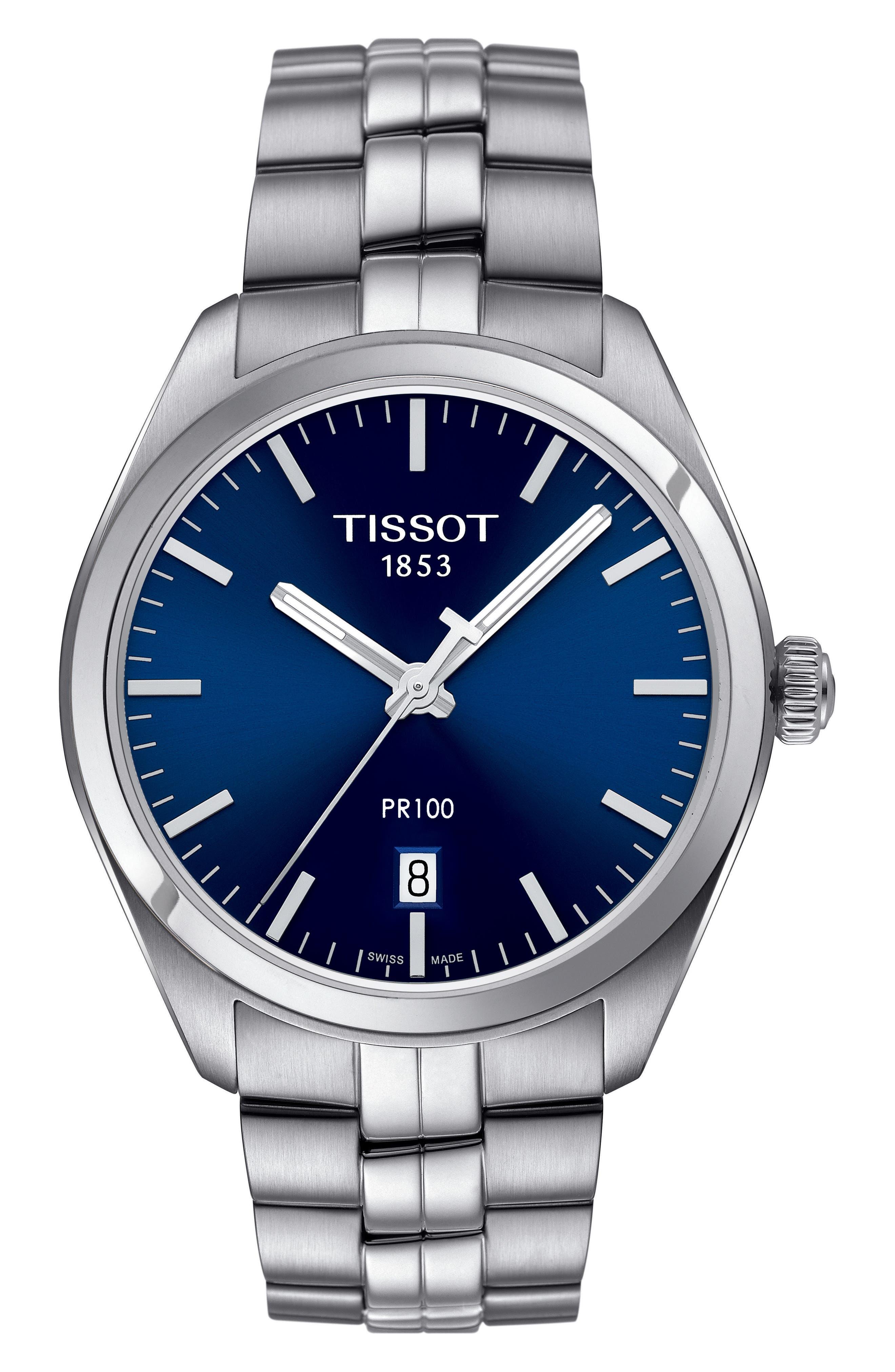PR100 Bracelet Watch, 39mm,                             Main thumbnail 1, color,                             Silver/ Navy/ Silver