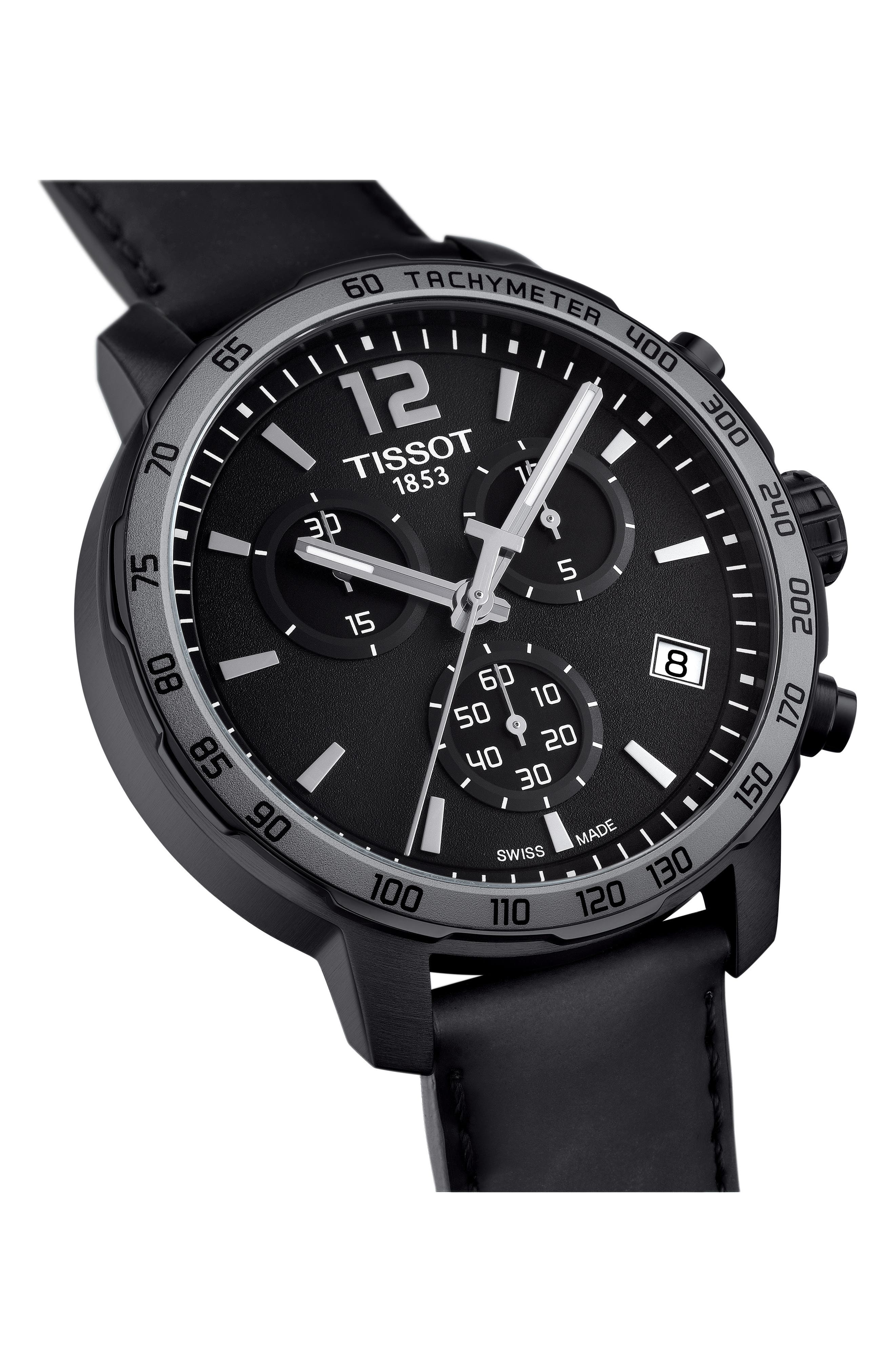 Quickster Chronograph Leather Strap Watch, 42mm,                             Alternate thumbnail 4, color,                             Black/ Gunmetal