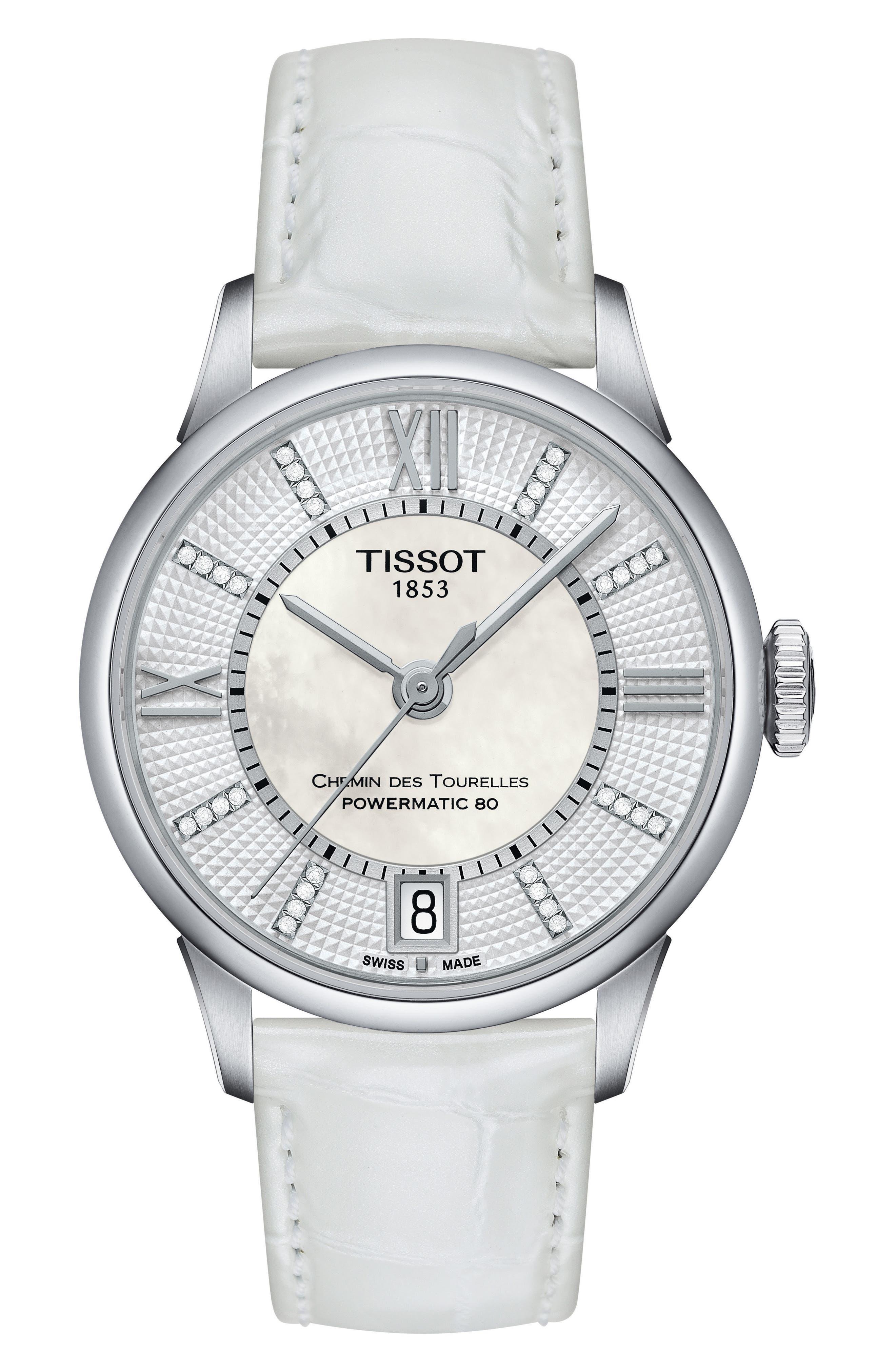 Main Image - Tissot Chemin Des Tourelles Diamond Leather Strap Watch, 32mm