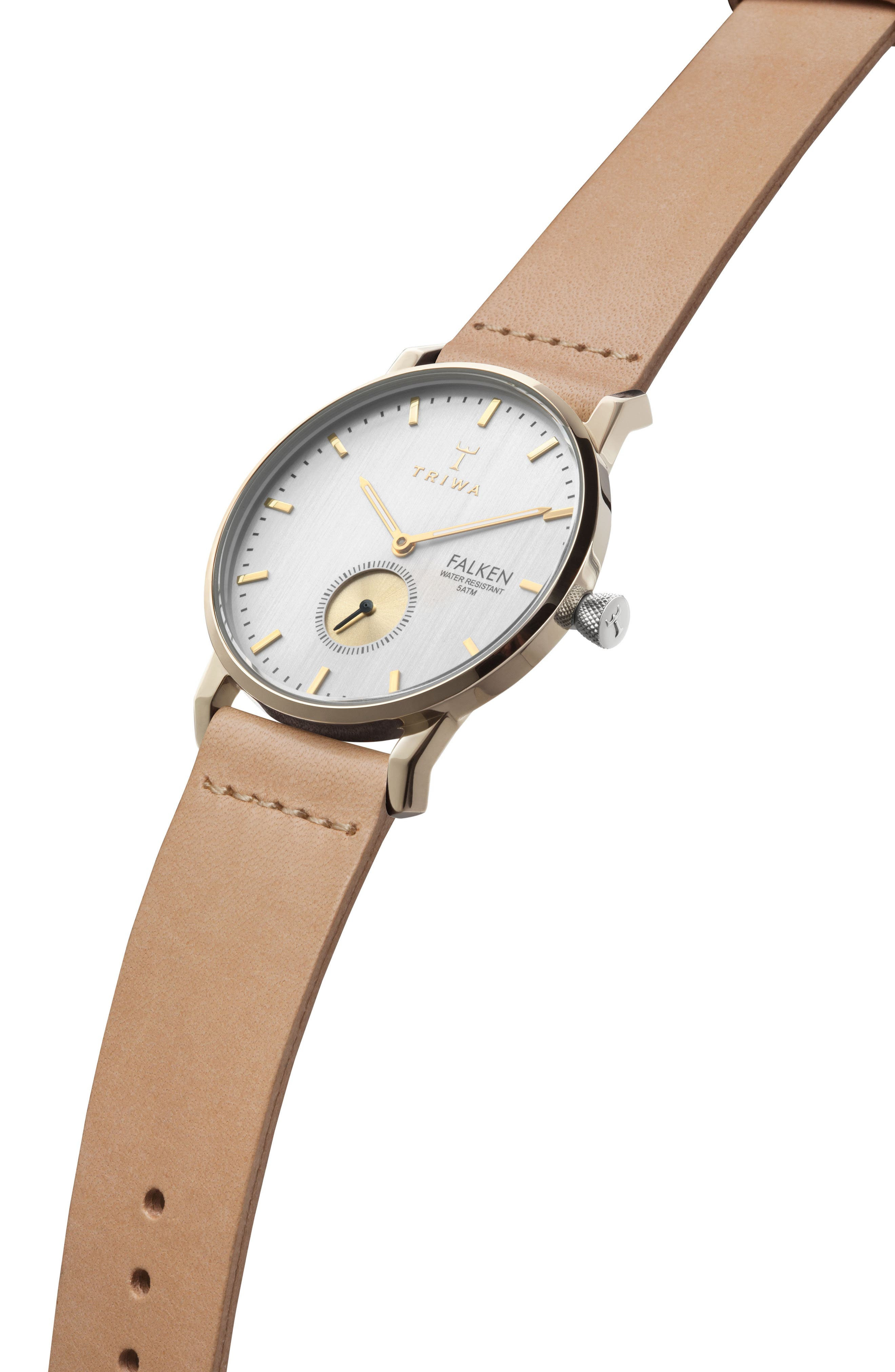 Birch Falken Organic Leather Strap Watch, 38mm,                             Alternate thumbnail 2, color,                             Tan/ White/ Gold