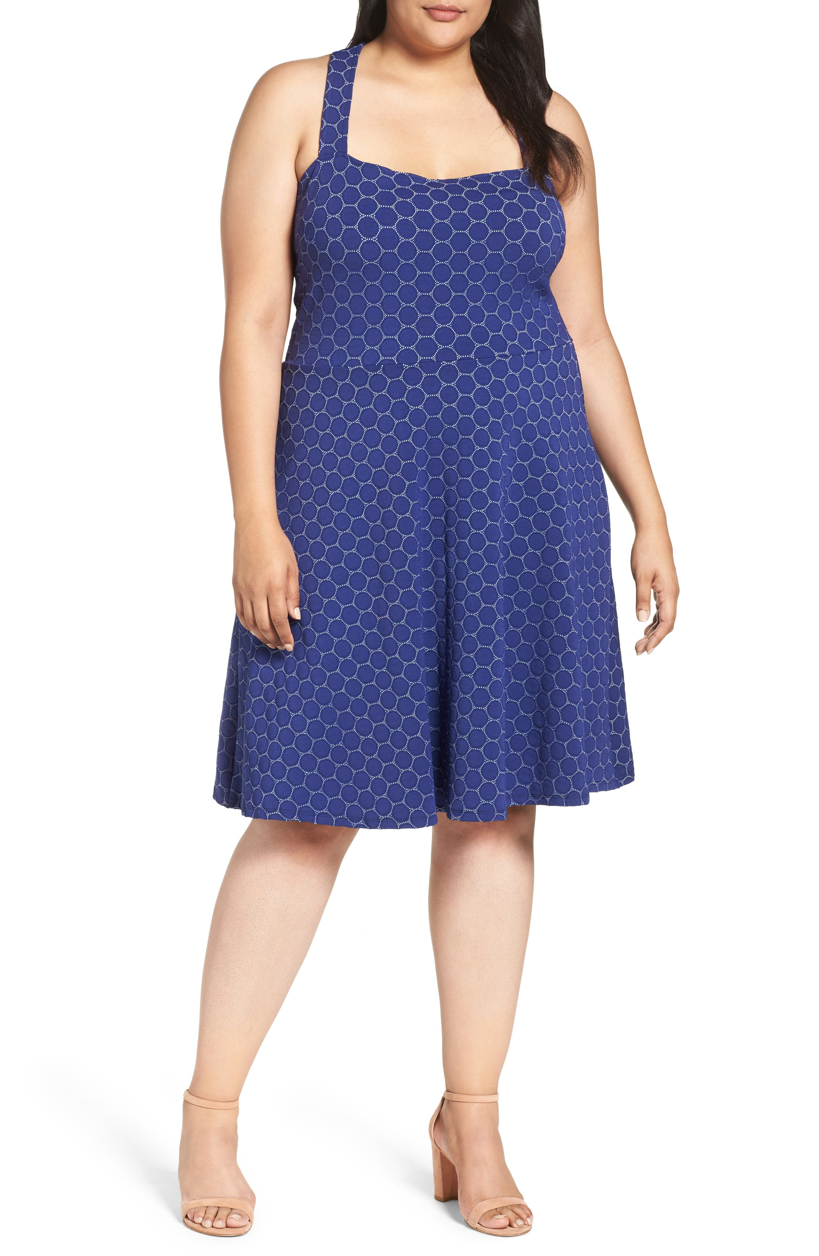 Fit & Flare Dress,                         Main,                         color, Navy Cameo