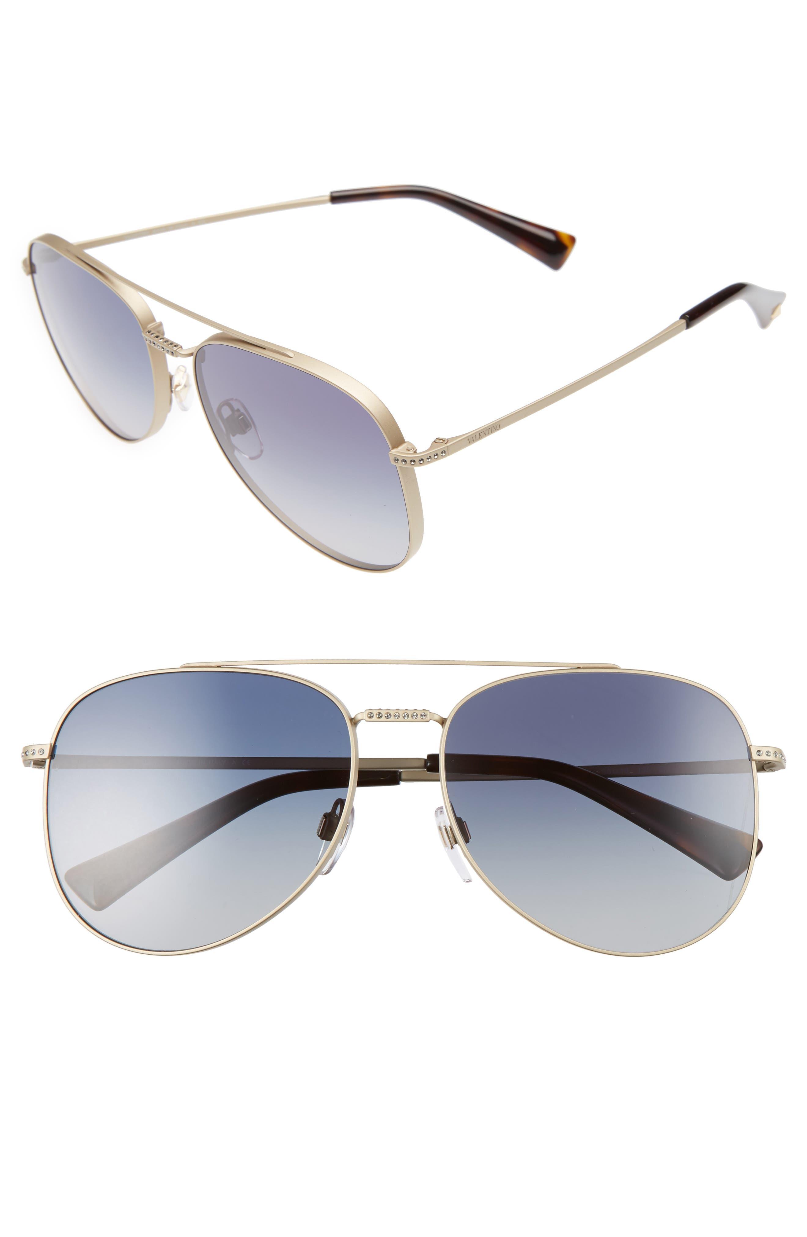 VALENTINO GARAVANI Valentino 56mm Aviator Sunglasses