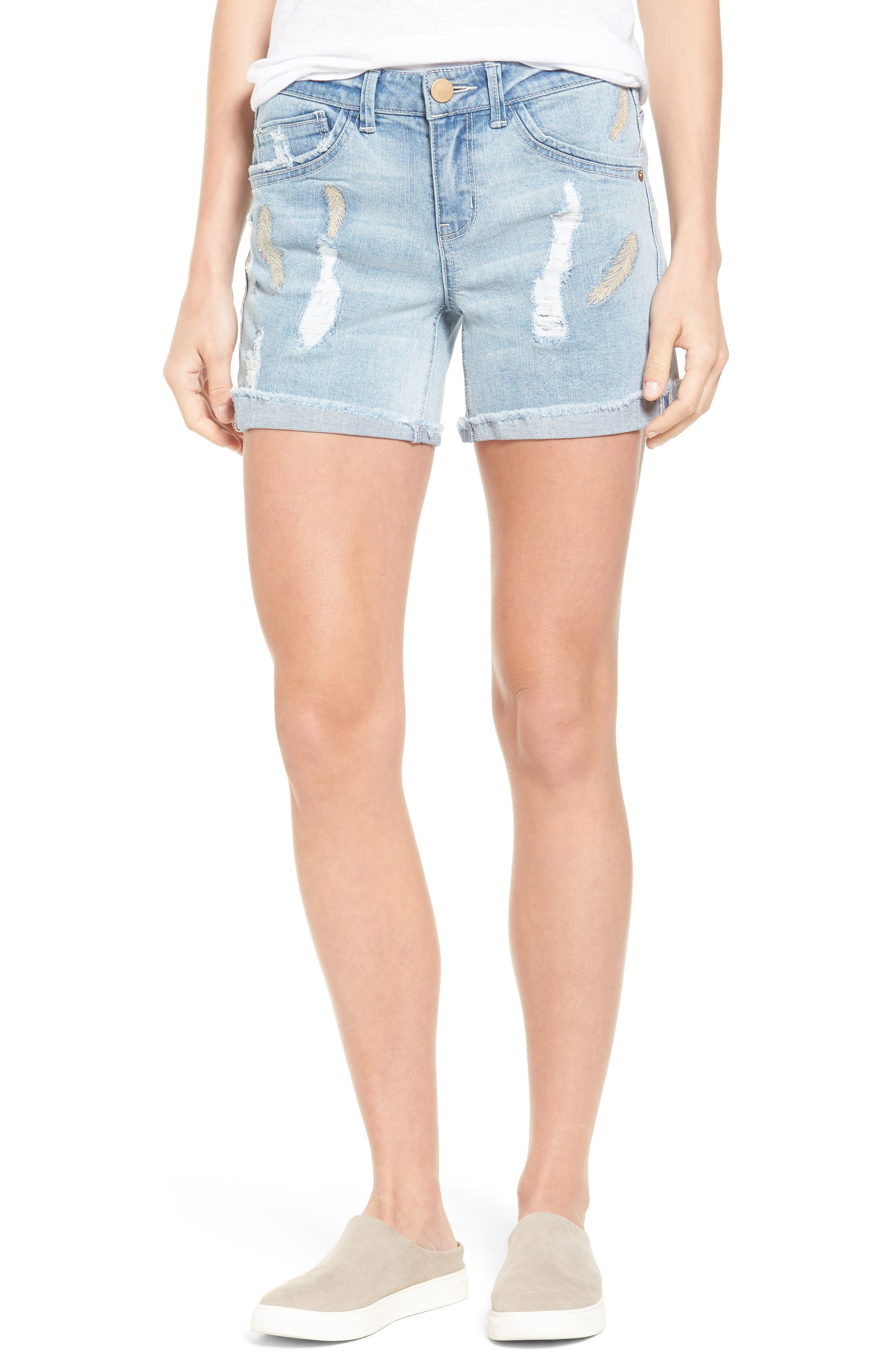 Embroidered Cutoff Shorts,                         Main,                         color, Light Blue