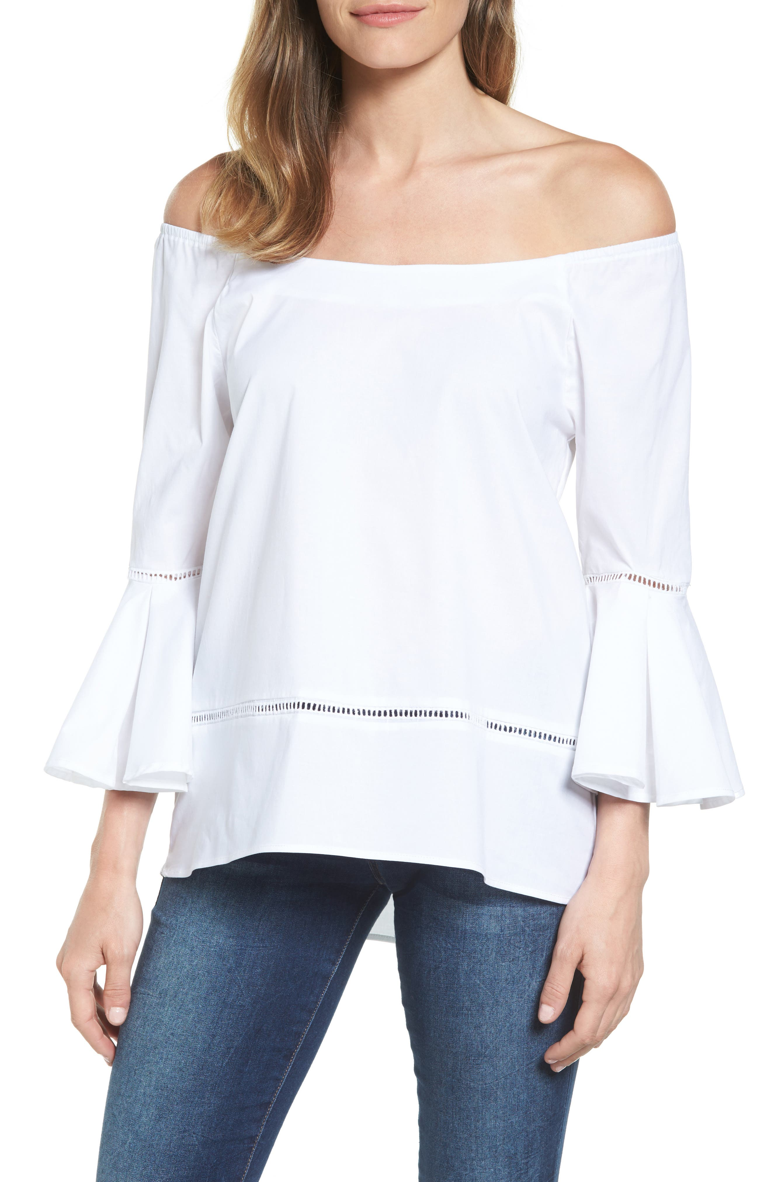 Off the Shoulder Poplin Top,                             Main thumbnail 1, color,                             White