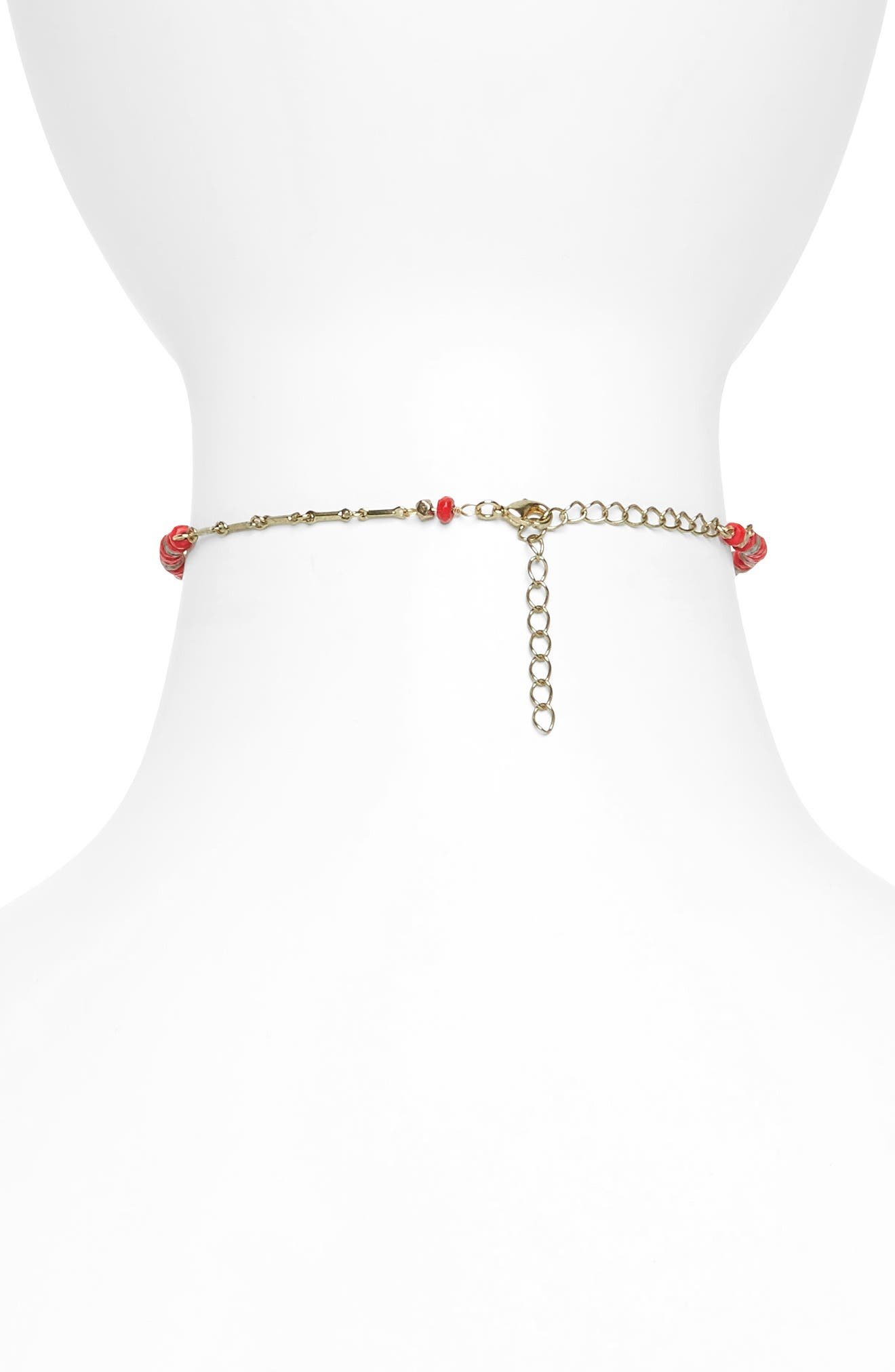 Wire Choker,                             Alternate thumbnail 2, color,                             Coral- Gold