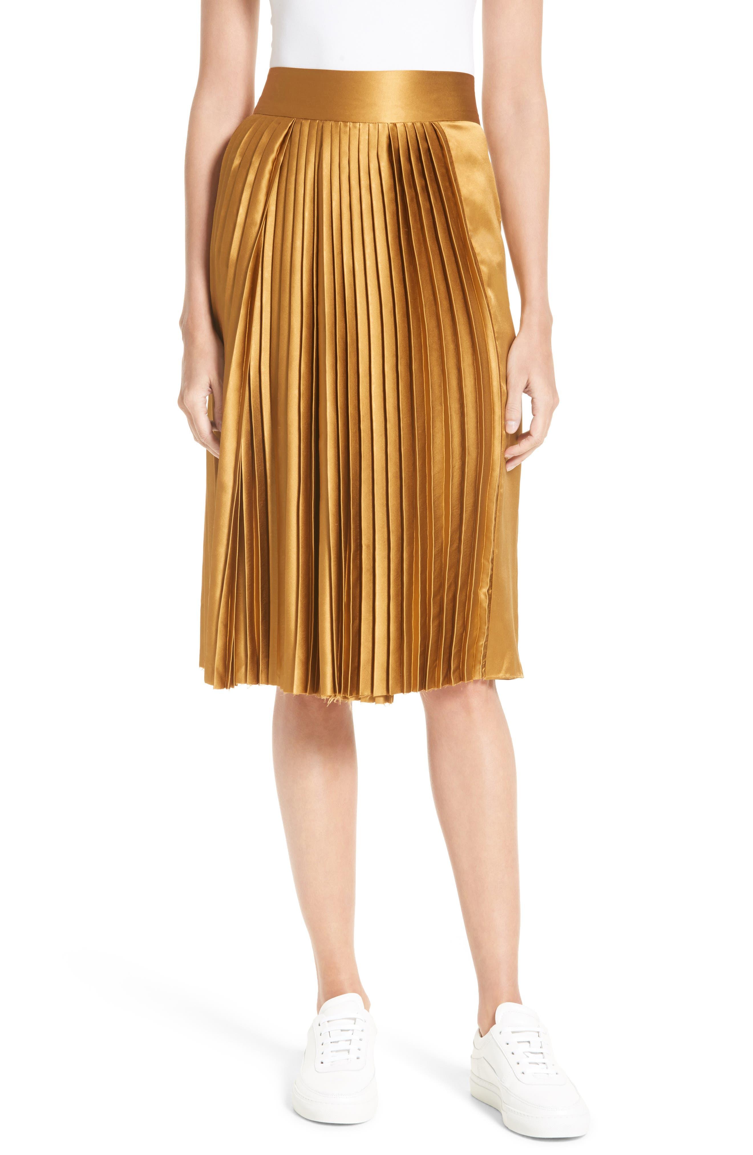 Gamil Pleated Silk Skirt,                             Main thumbnail 1, color,                             Bone Brown