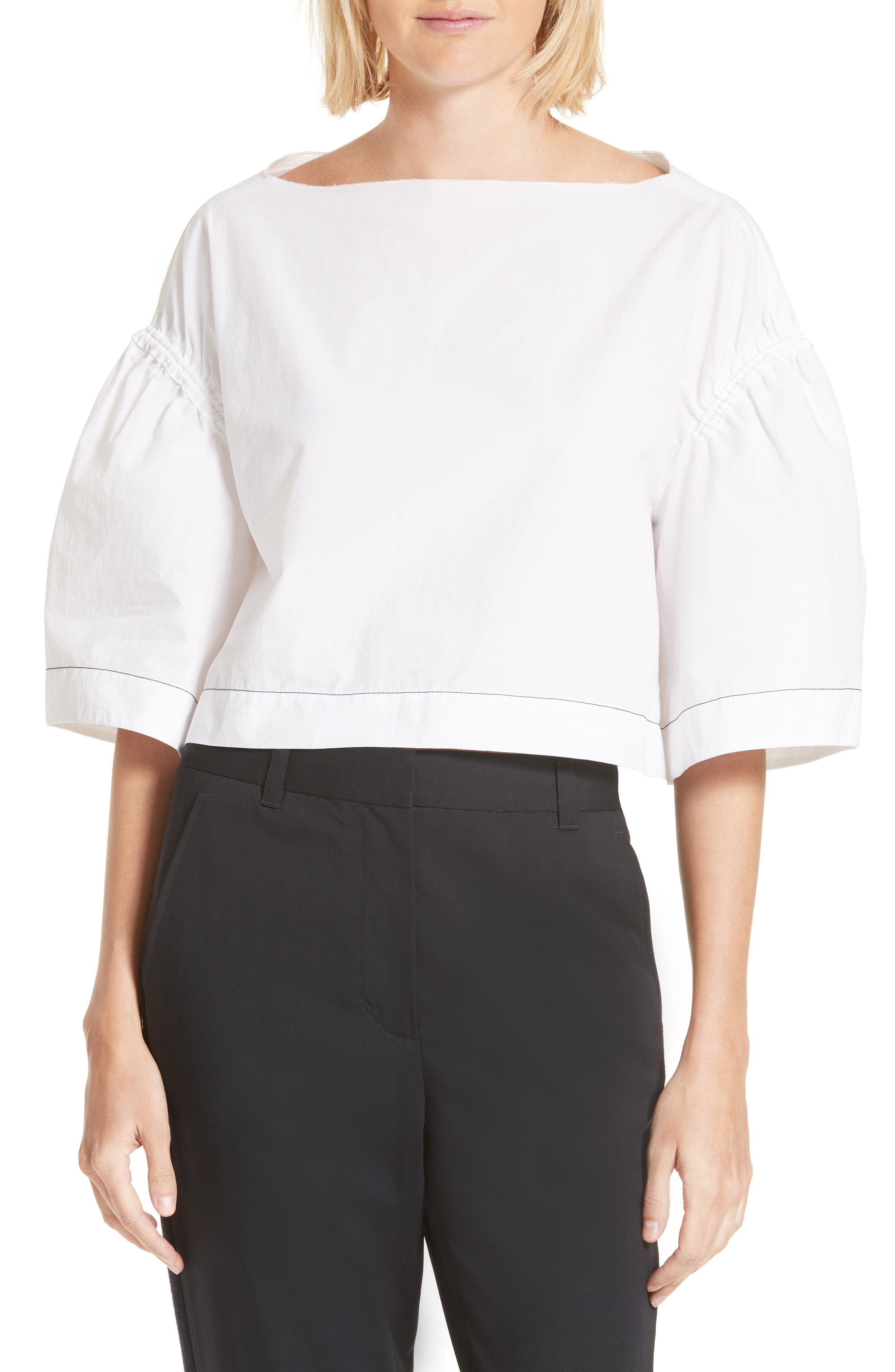 3.1 Phillip Lim Ruched Cotton Top