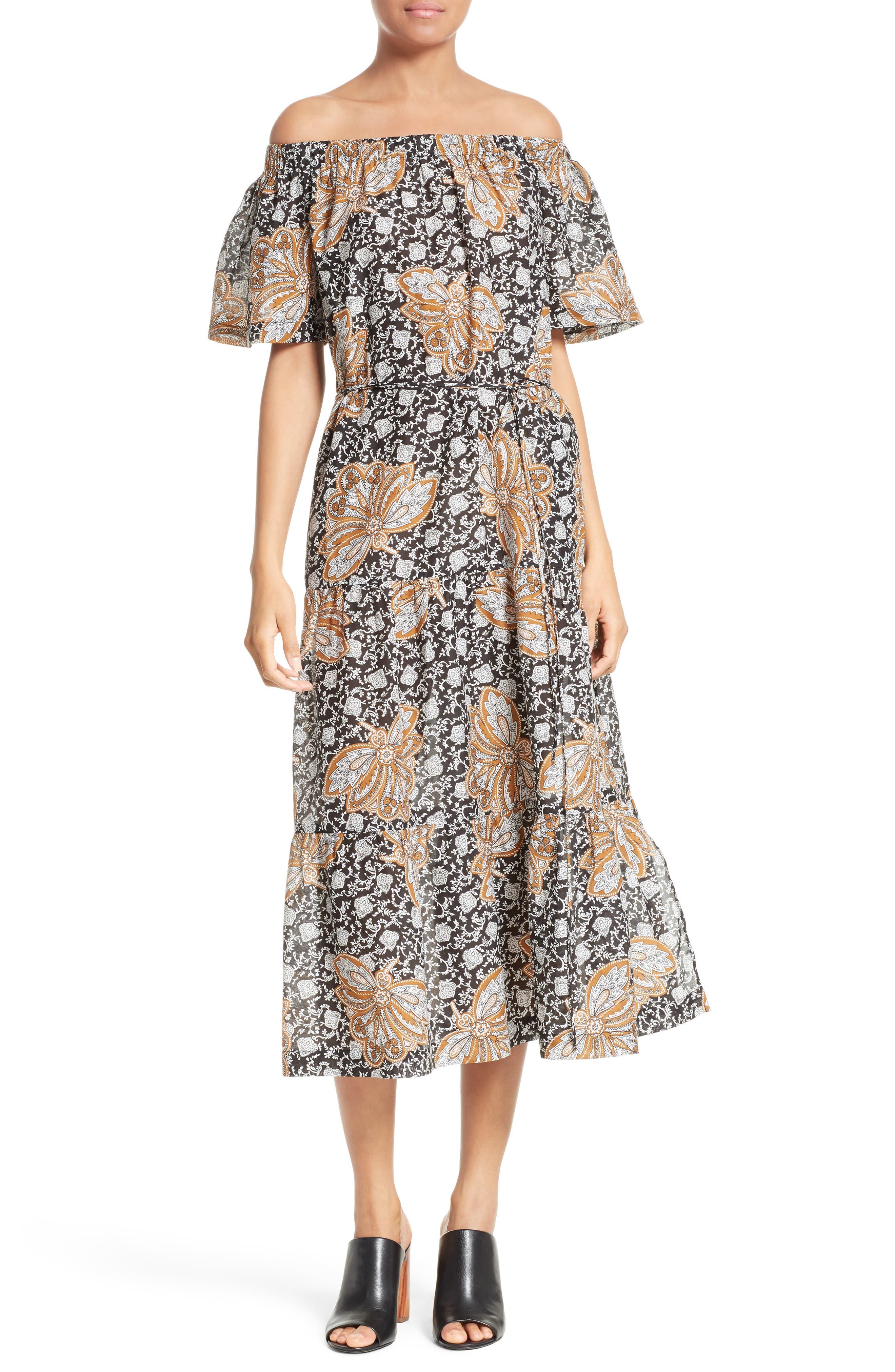 A.L.C. Doris Print Off the Shoulder Dress
