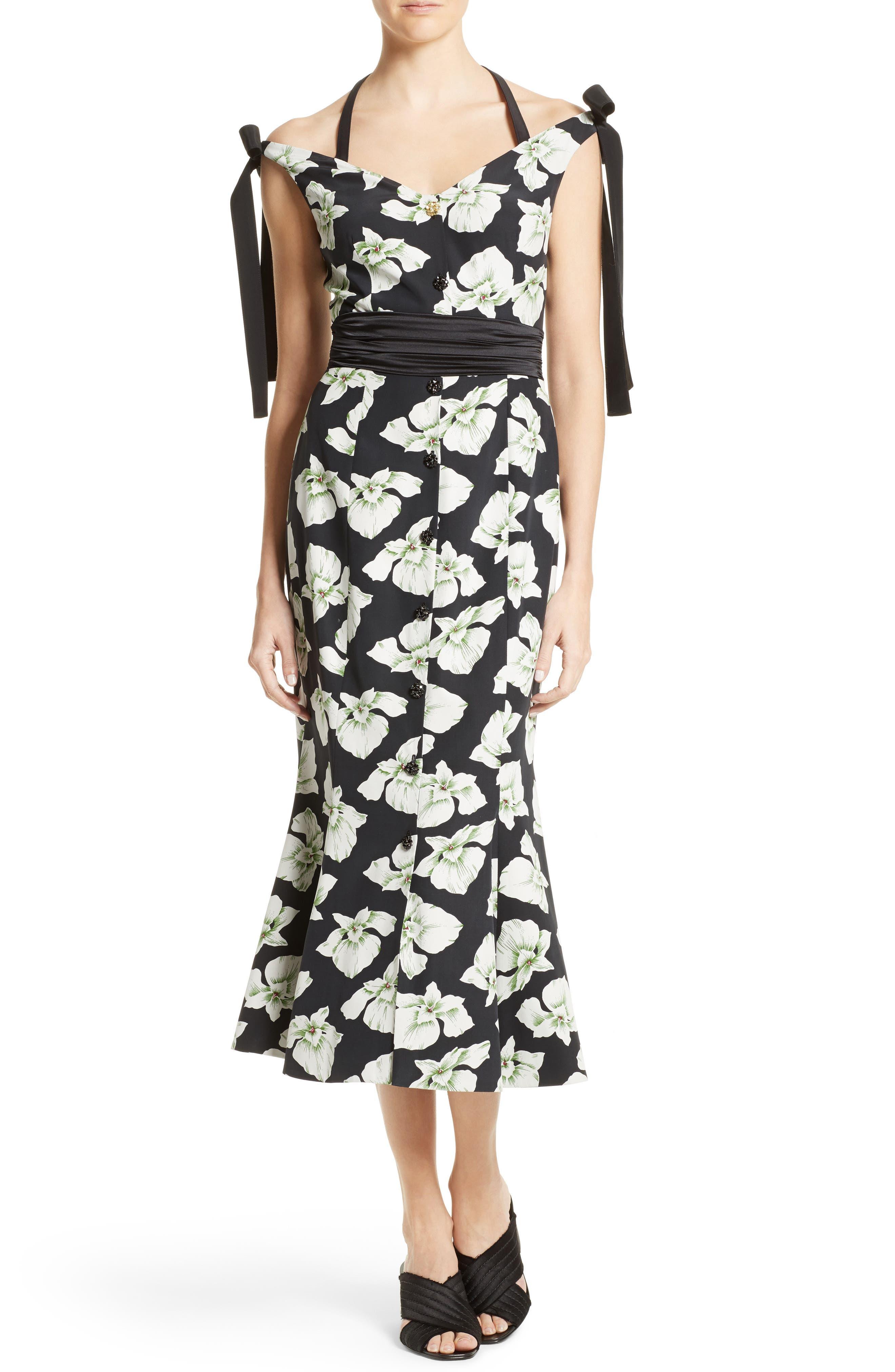 Blakely Off the Shoulder Dress,                         Main,                         color, Black Multi
