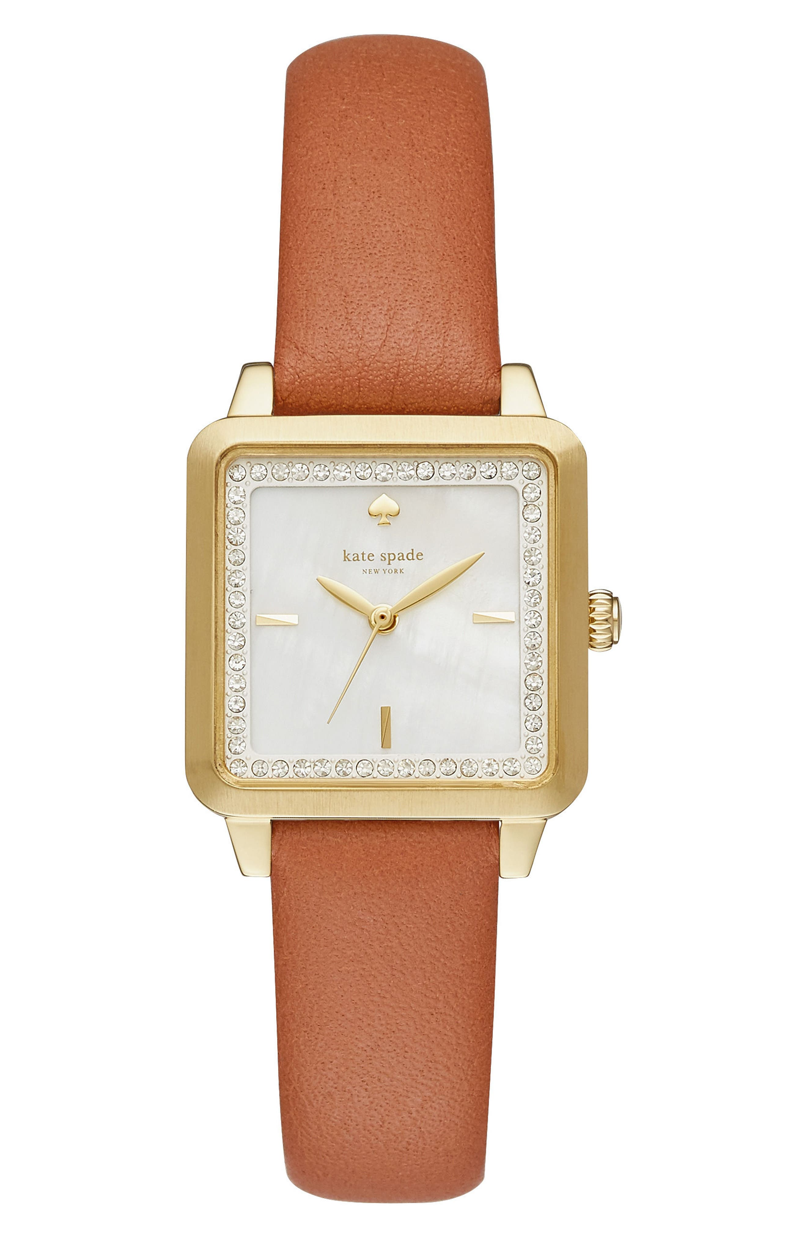 KATE SPADE NEW YORK washington square leather strap watch, 25mm