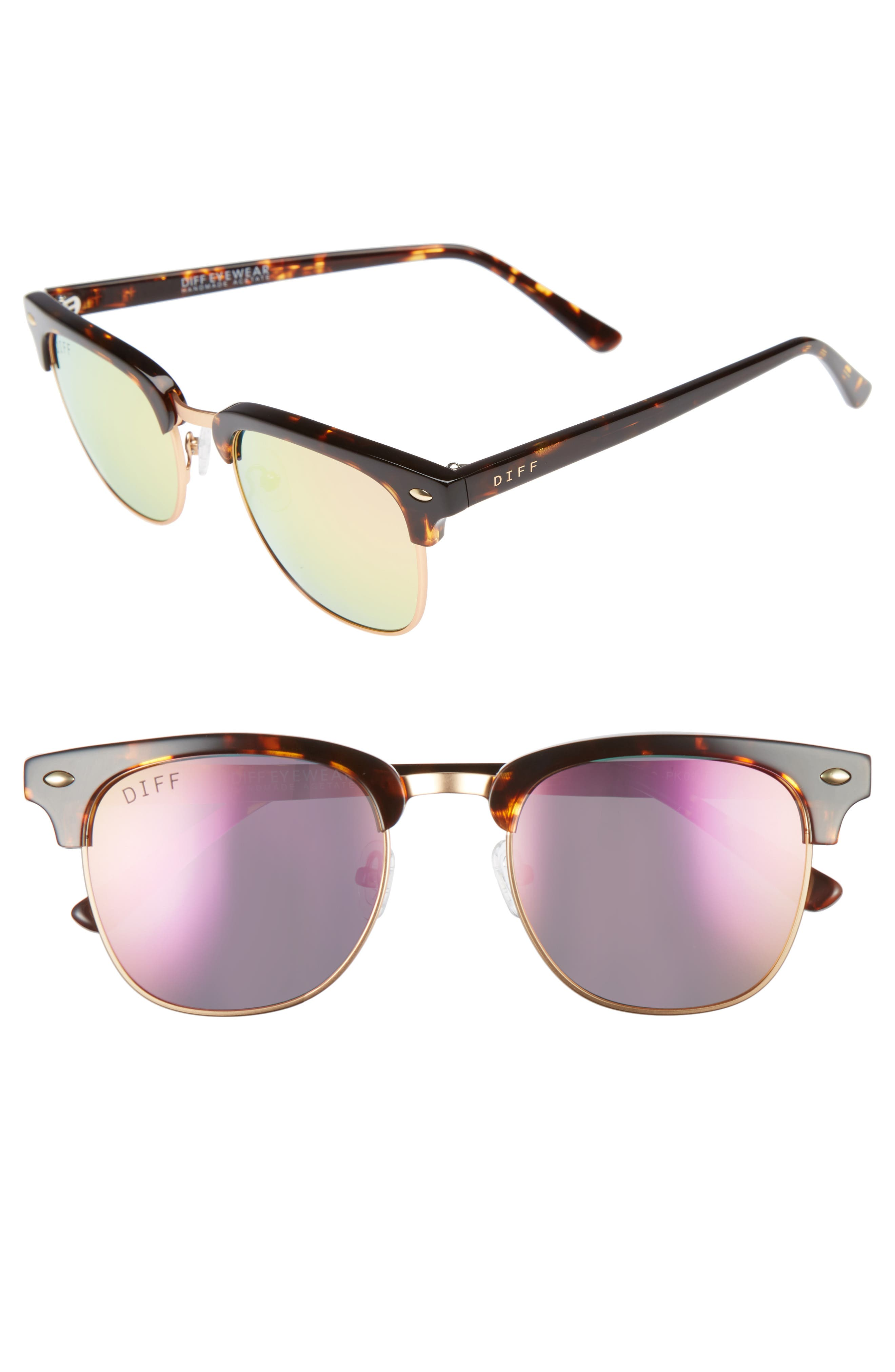 Barry 51mm Polarized Retro Sunglasses,                         Main,                         color, Tortoise/ Pink