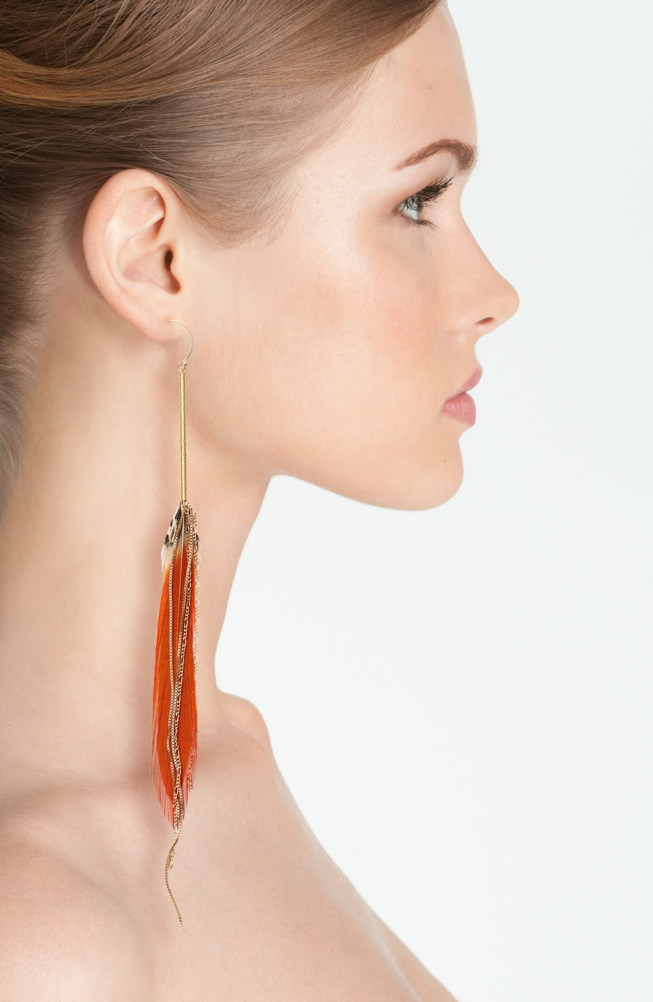 Red Feather Drop Earrings,                             Alternate thumbnail 2, color,                             Red/ Gold