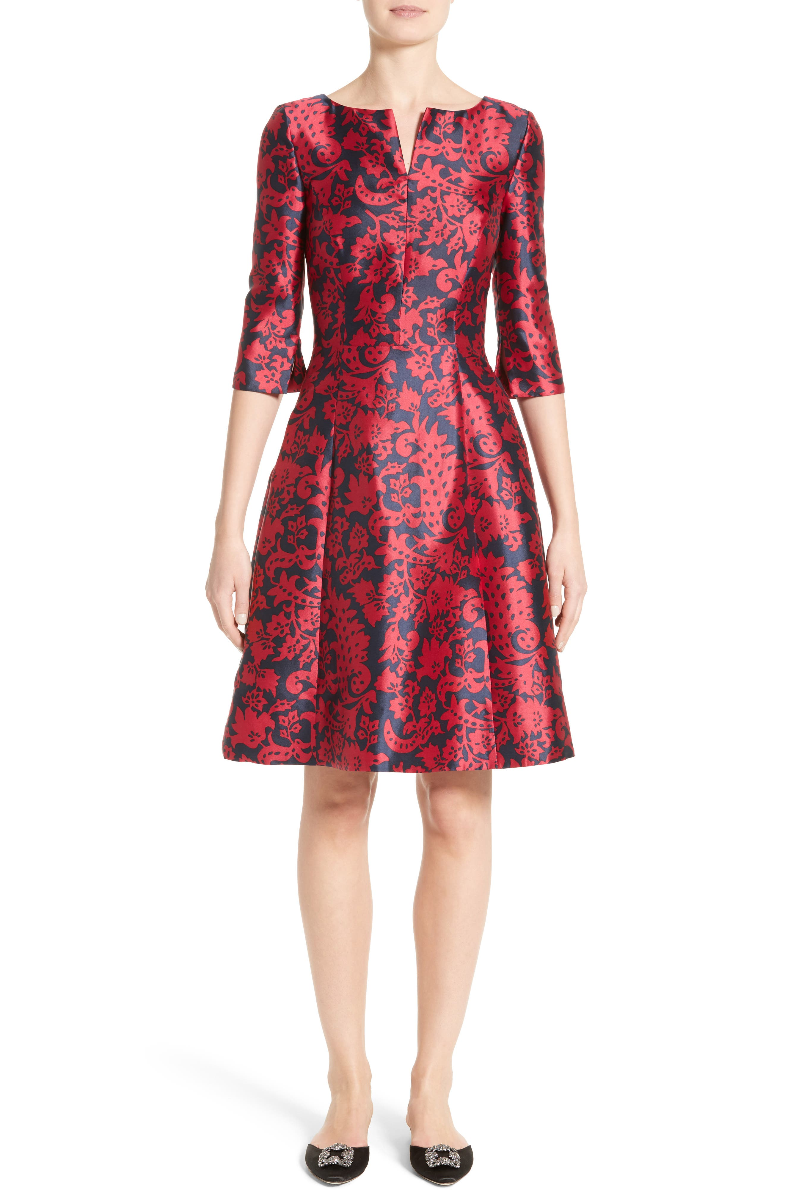 Alternate Image 1 Selected - Oscar de la Renta Print Mikado Fit & Flare Dress