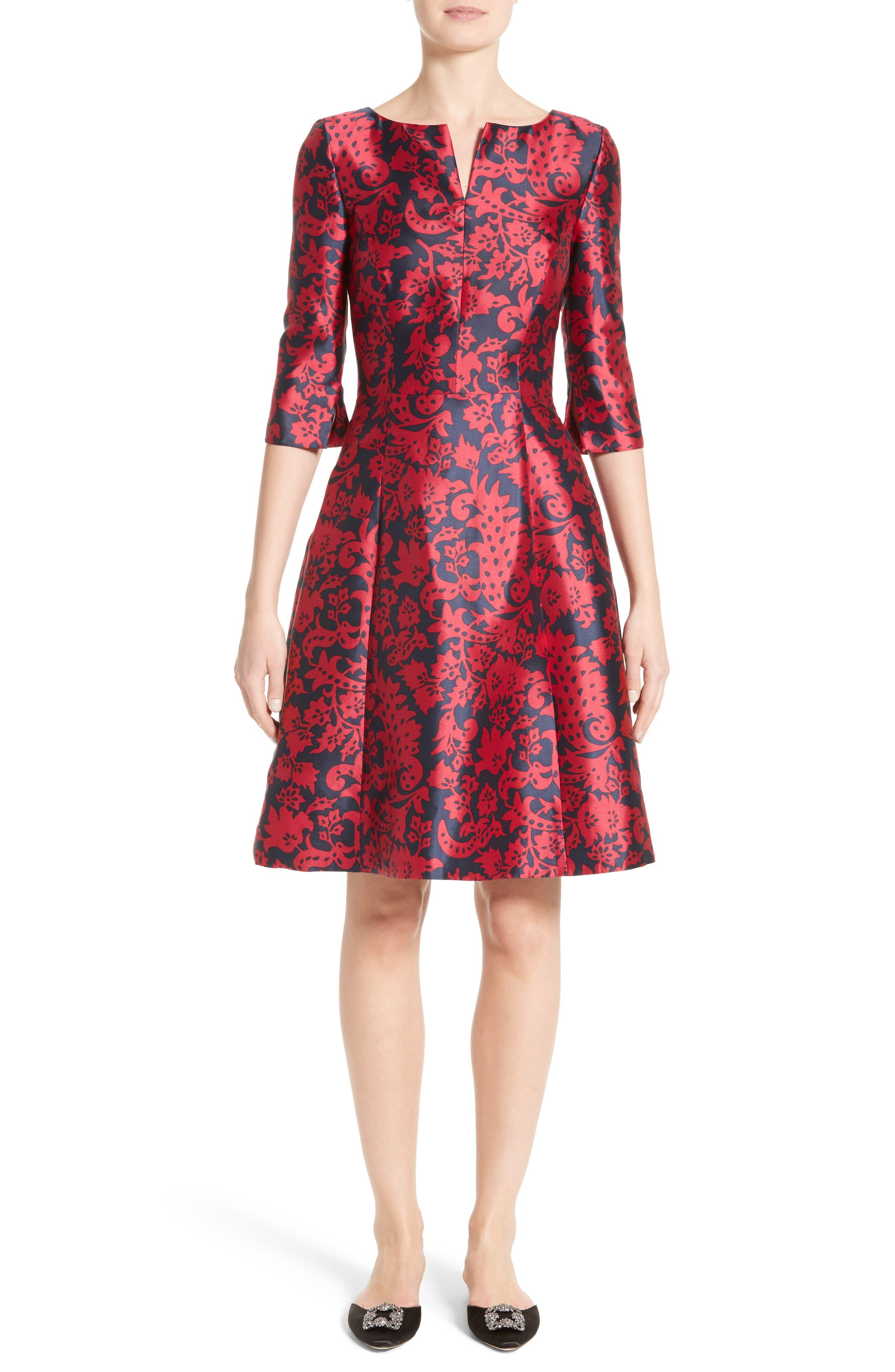 Print Mikado Fit & Flare Dress,                         Main,                         color, Navy/ Garnet