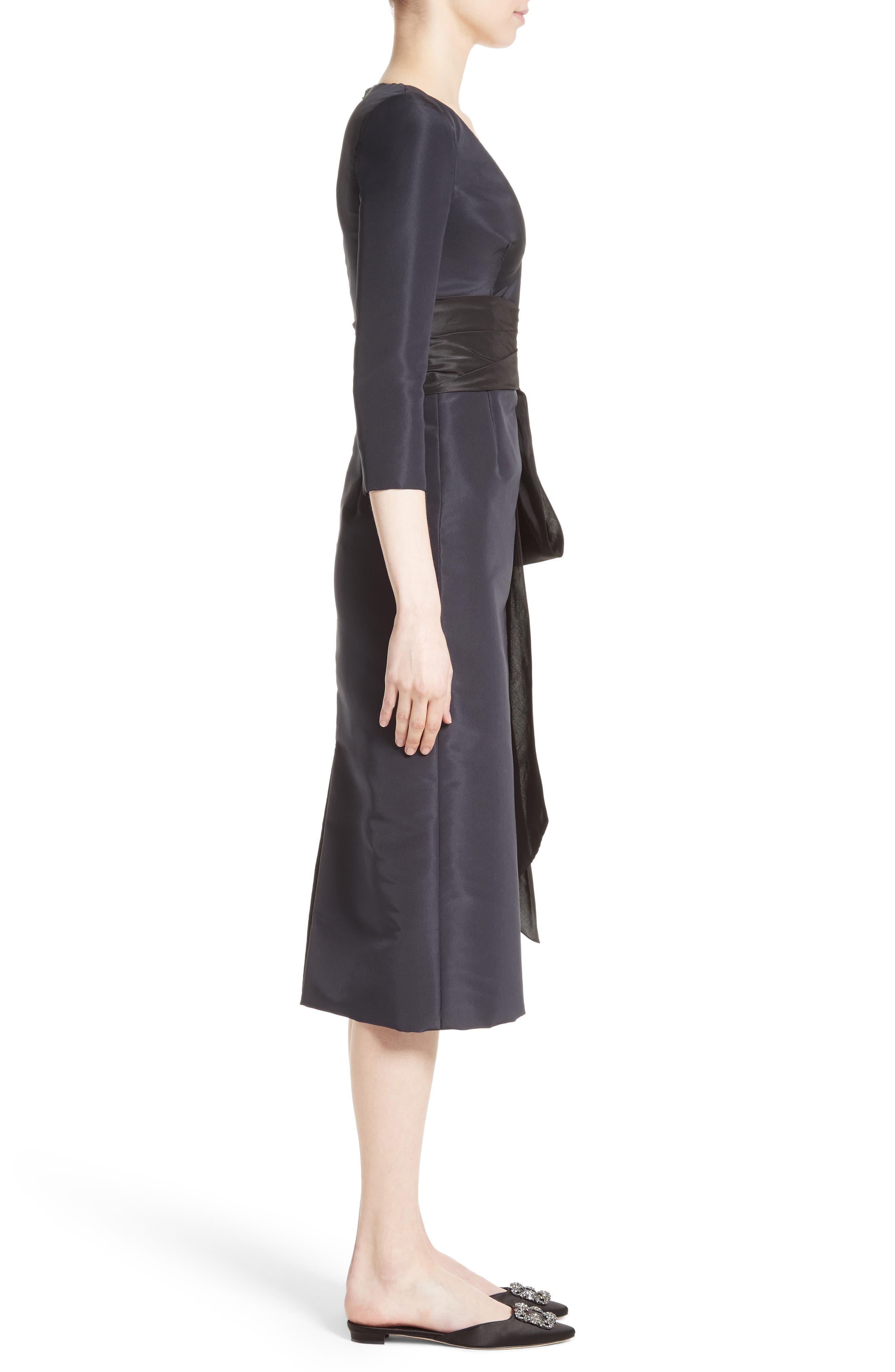 Alternate Image 5  - Oscar de la Renta Silk Moiré Cocktail Dress