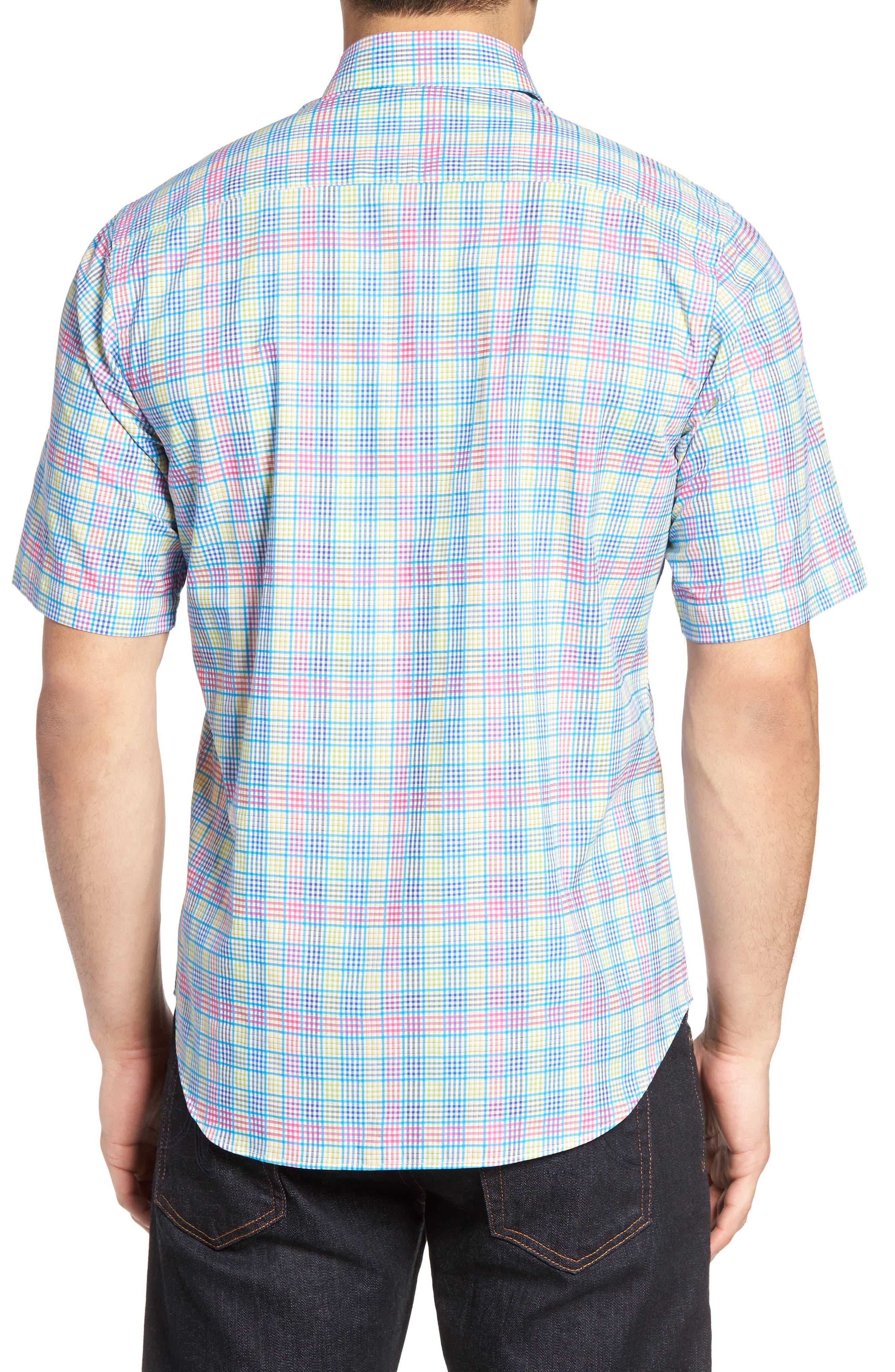 Lemon Plaid Sport Shirt,                             Alternate thumbnail 2, color,                             Blue/ Lime