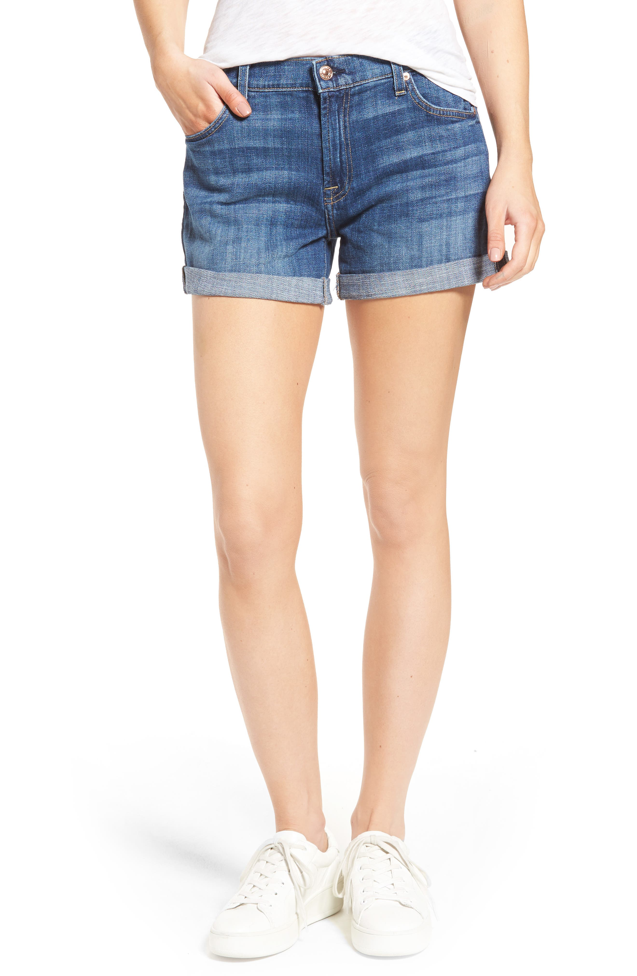 Relaxed High Rise Denim Shorts,                         Main,                         color, Barrier Reef Broken Twill