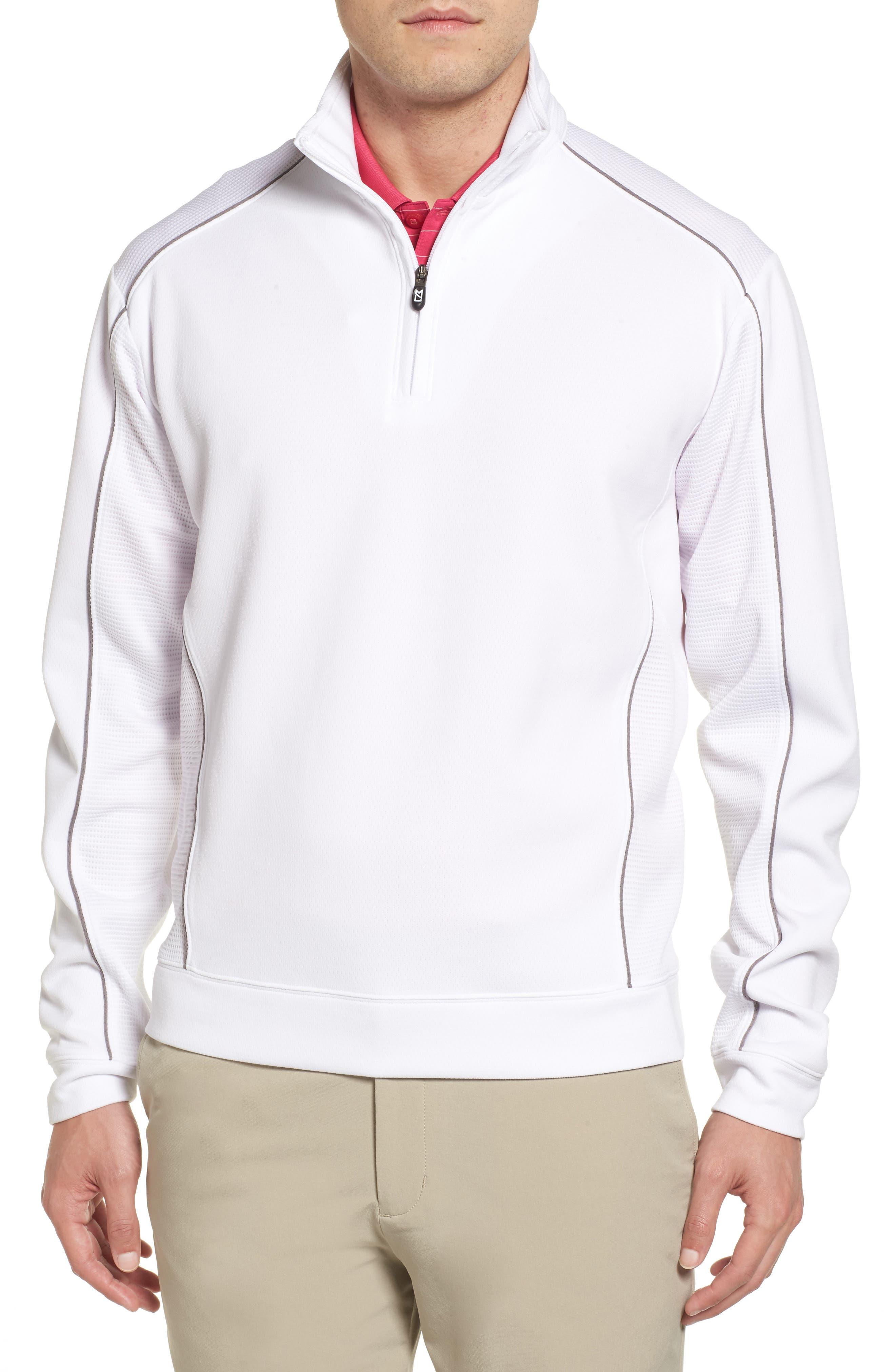 'DryTec<sup>®</sup> Edge' Half Zip Mesh Pullover,                             Main thumbnail 1, color,                             White