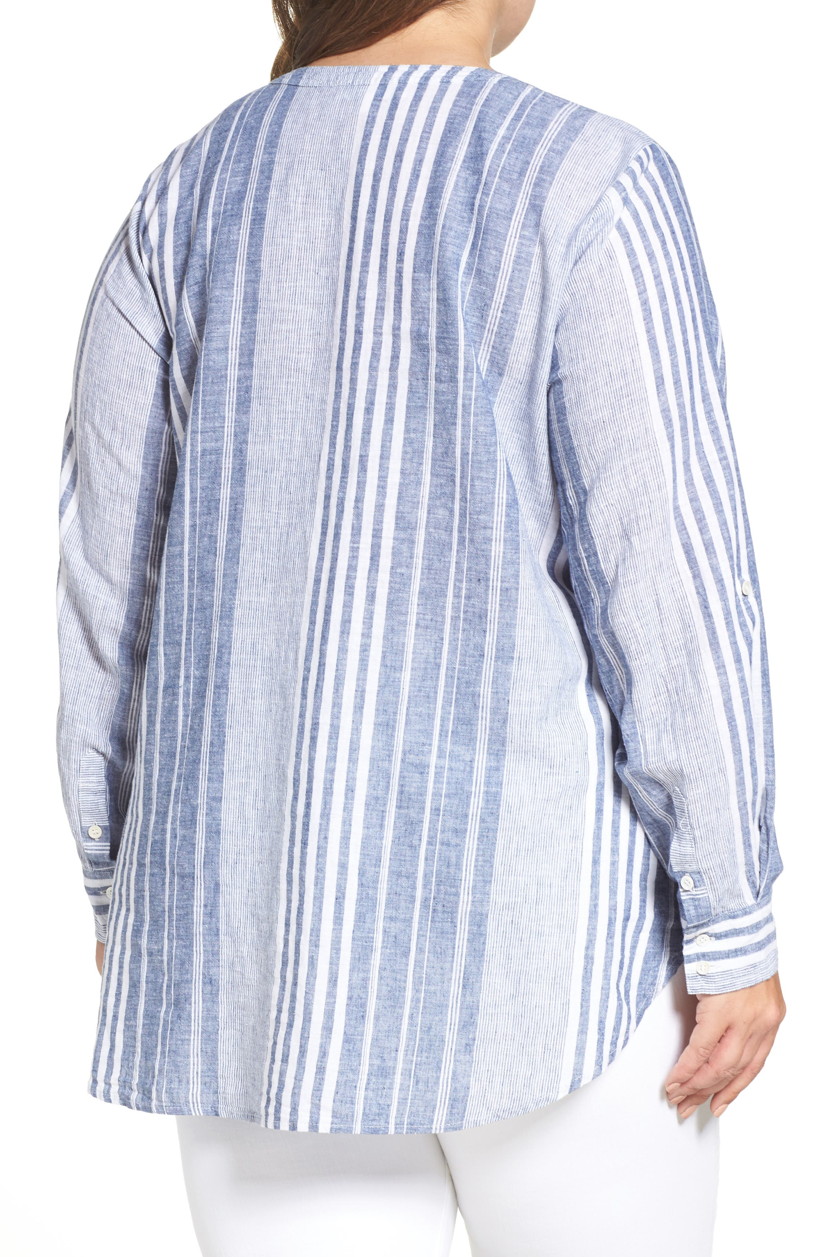 Alternate Image 2  - Two by Vince Camuto Variegated Stripe Linen Blend Tunic (Plus Size)