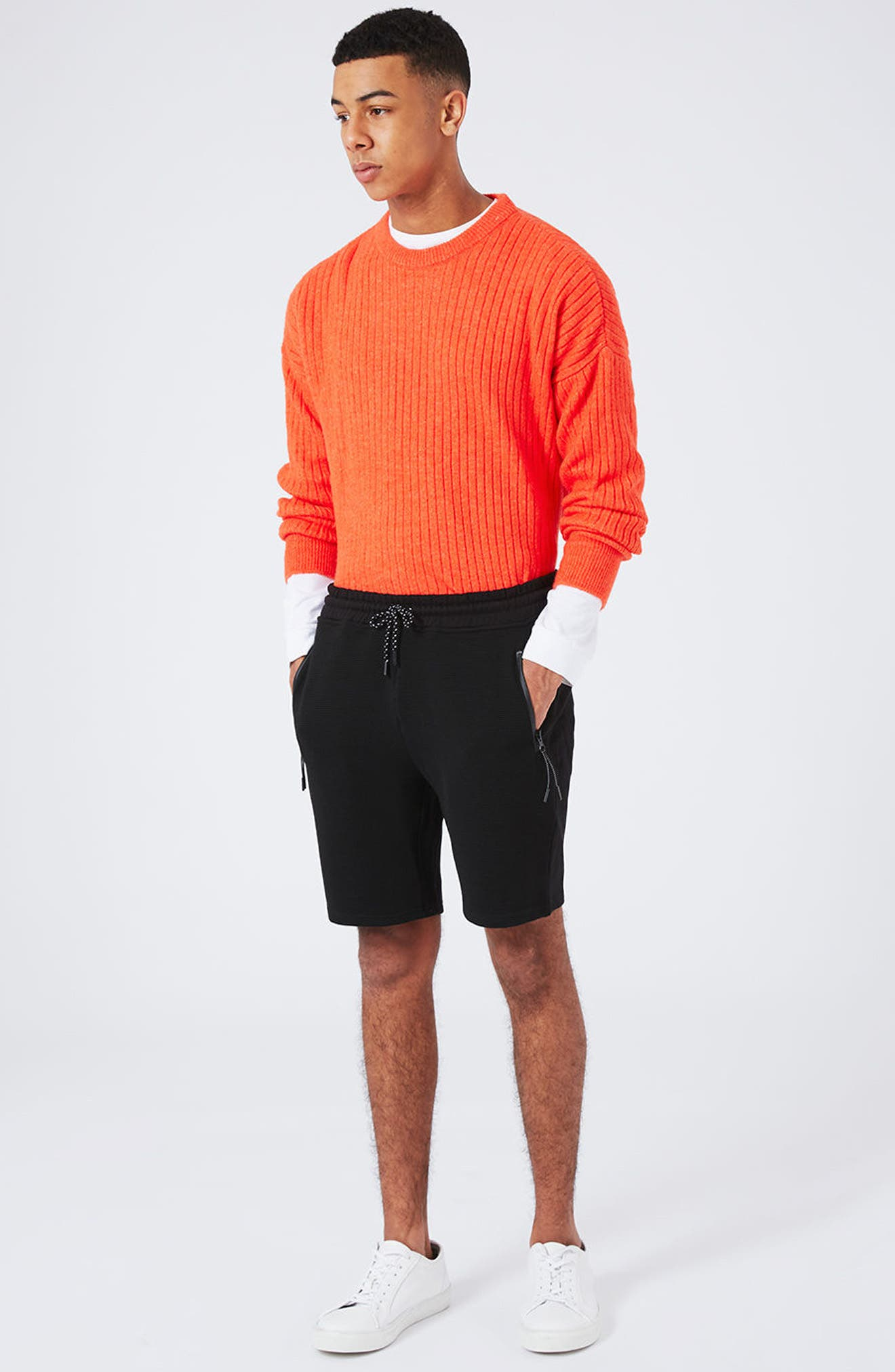 Textured Jersey Shorts,                             Alternate thumbnail 2, color,                             Black