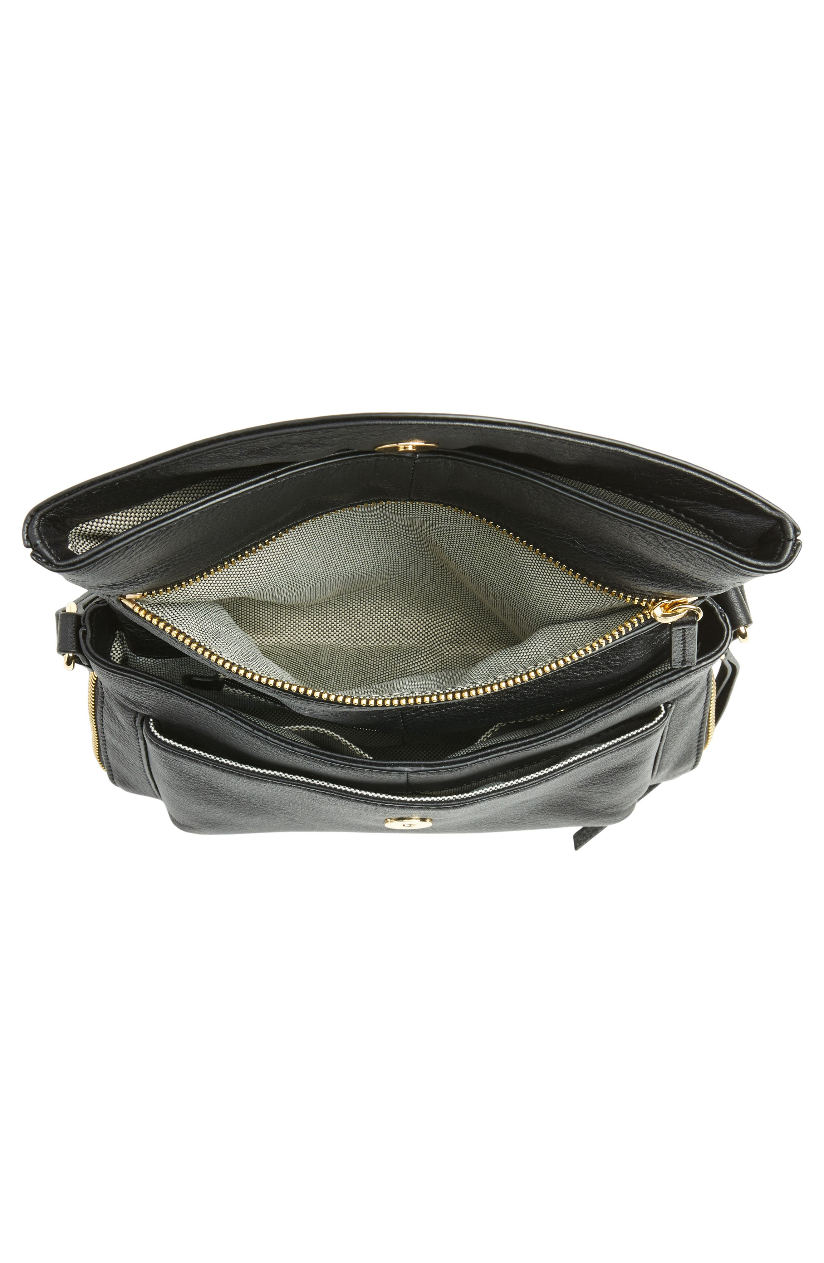 Dafni Leather Crossbody,                             Alternate thumbnail 4, color,                             Black