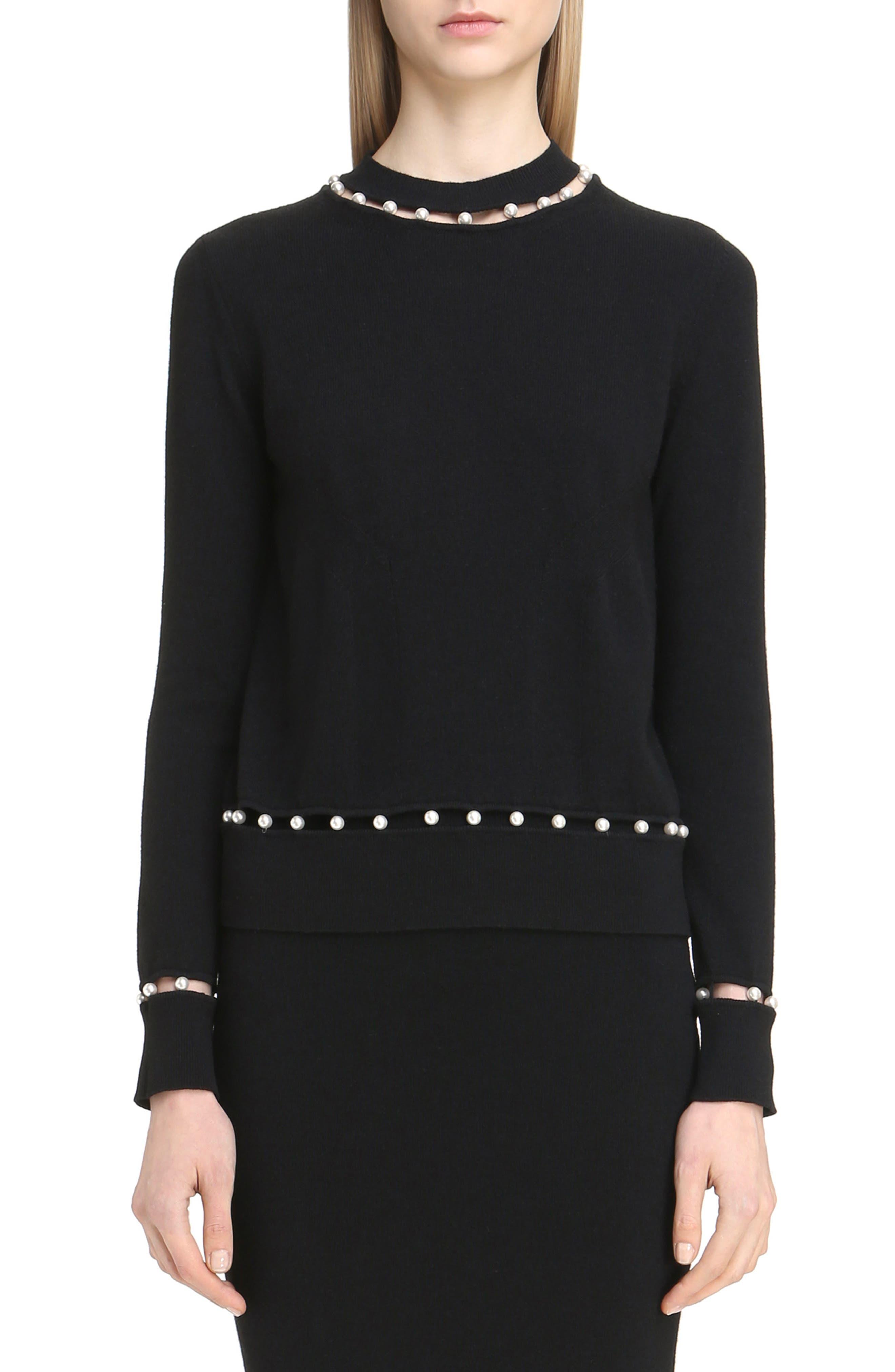 Imitation Pearl Inset Wool Blend Sweater,                             Main thumbnail 1, color,                             Black