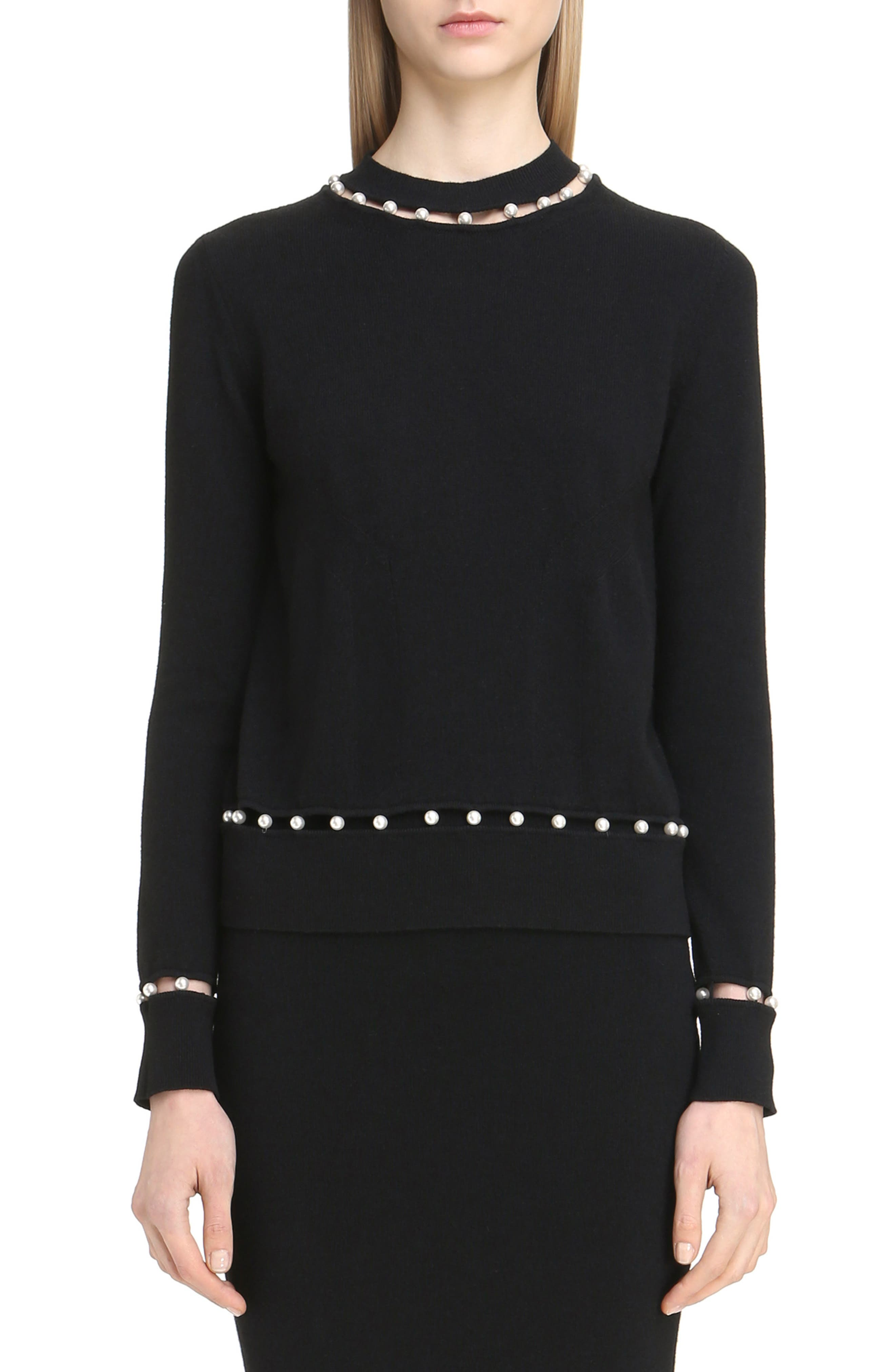 Imitation Pearl Inset Wool Blend Sweater,                         Main,                         color, Black
