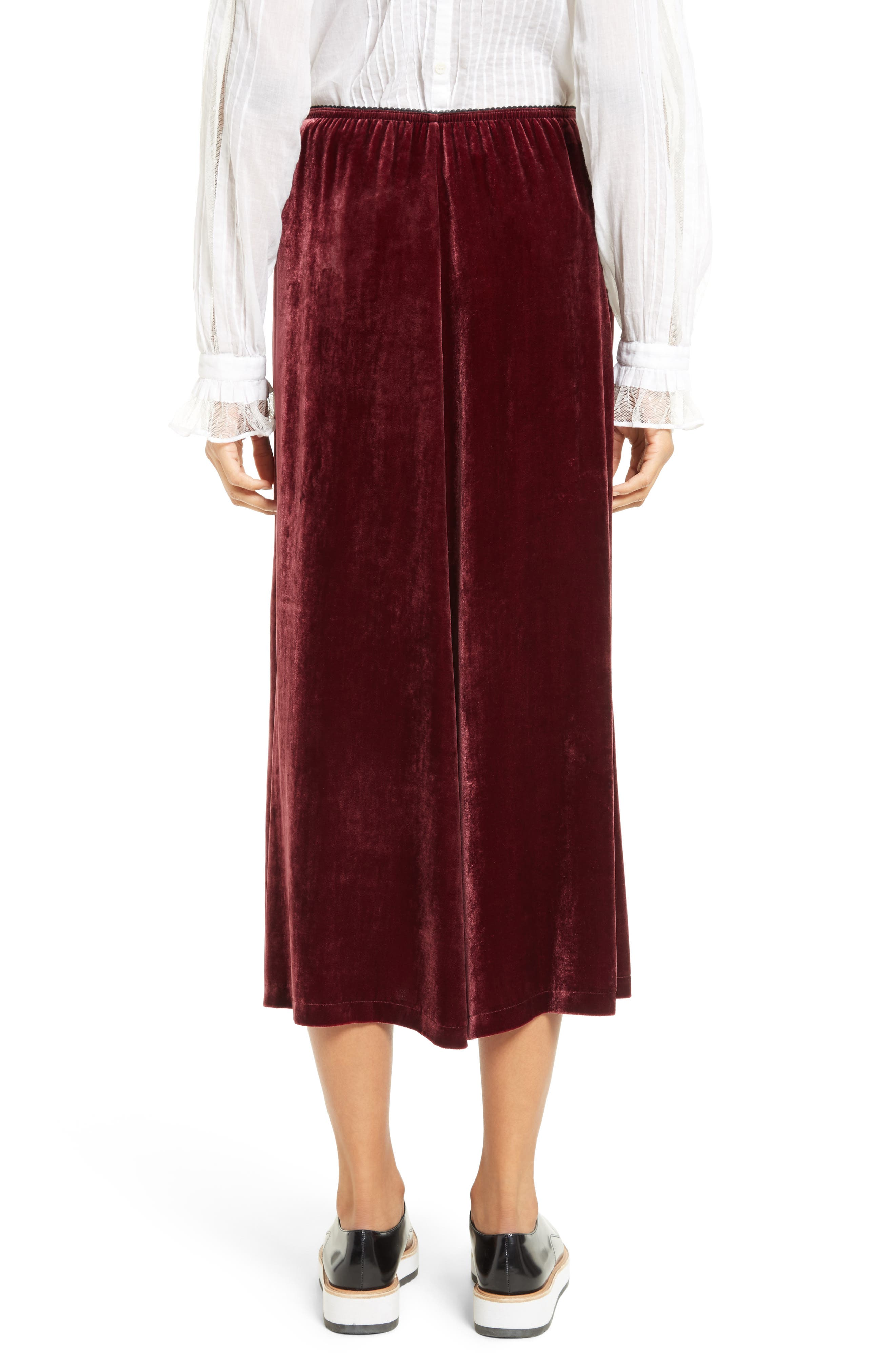 Velvet Midi Skirt,                             Alternate thumbnail 3, color,                             Wine