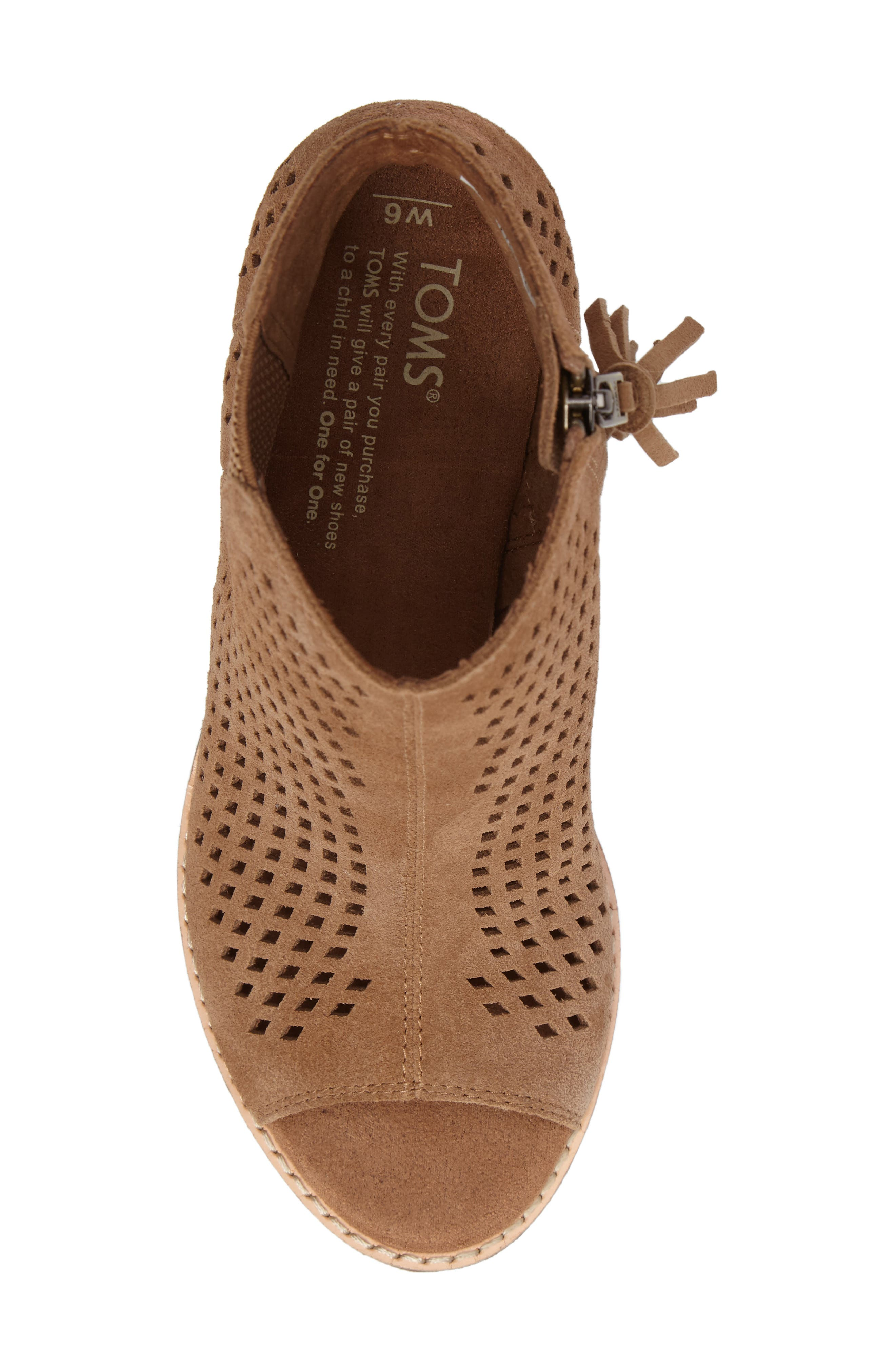 Majorca Peep Toe Bootie,                             Alternate thumbnail 6, color,                             Toffee Suede