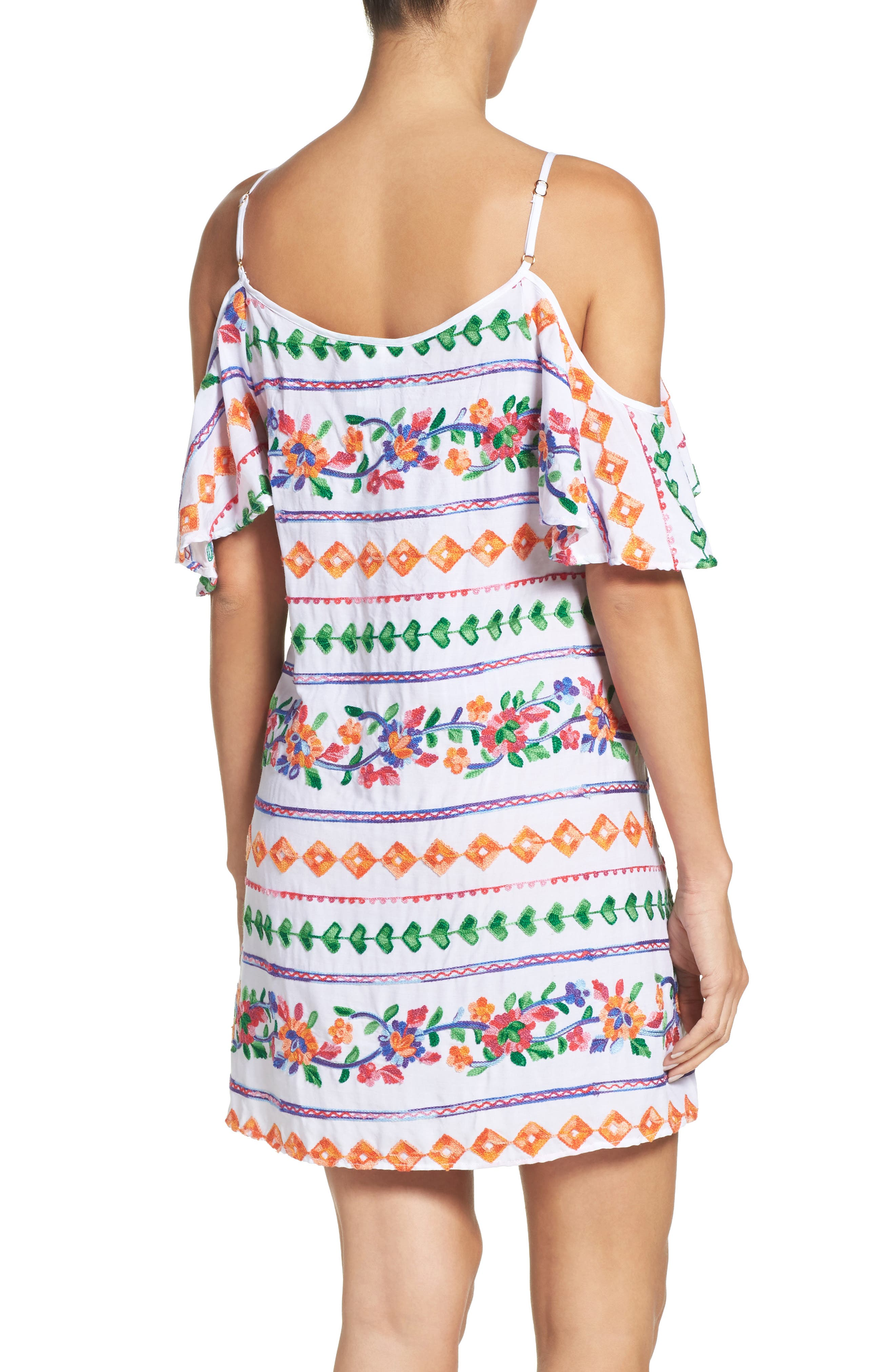 Eden Cover-Up Dress,                             Alternate thumbnail 2, color,                             Coral Multi
