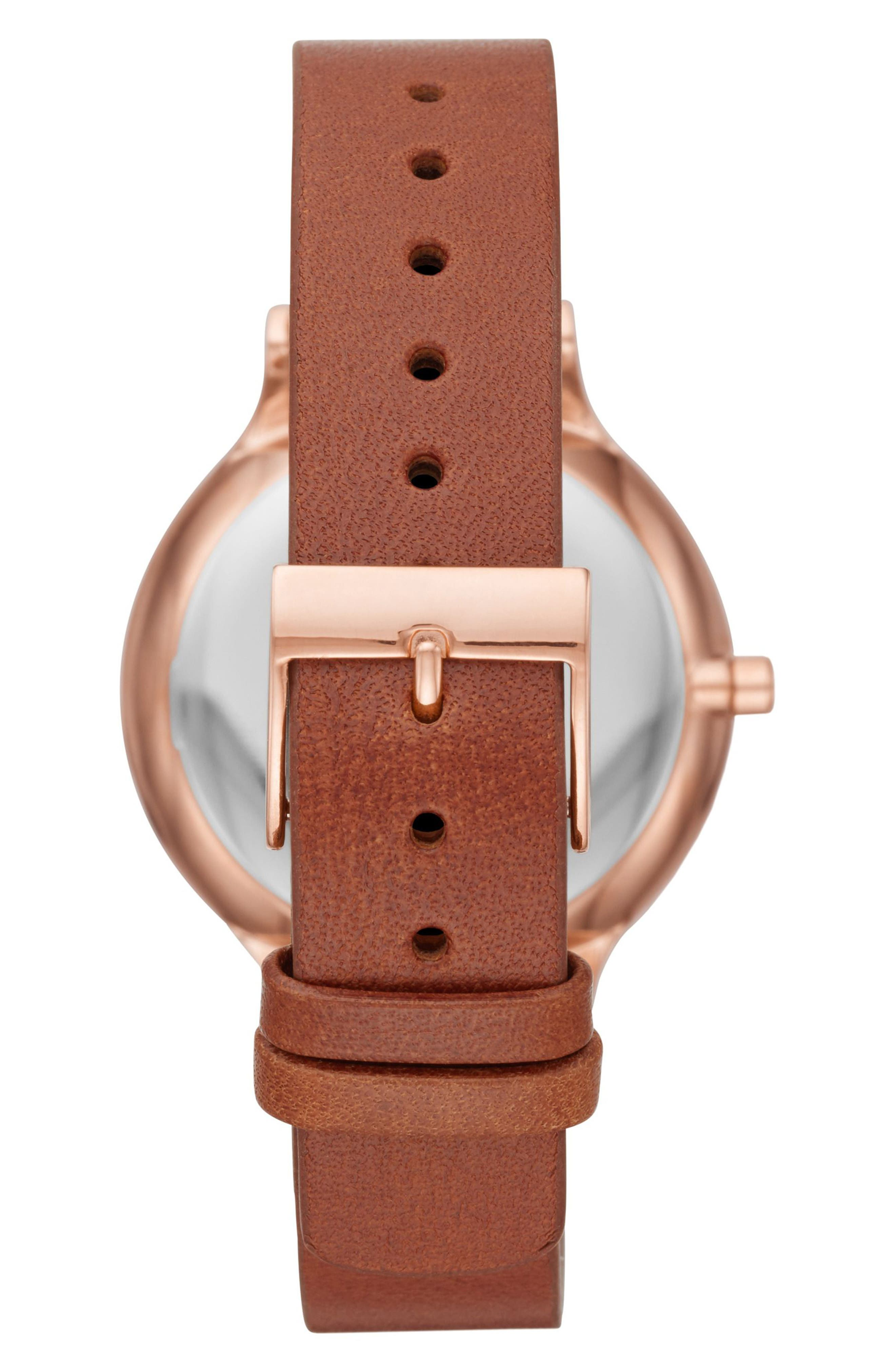 Alternate Image 2  - Skagen Anita Leather Strap Watch, 34mm