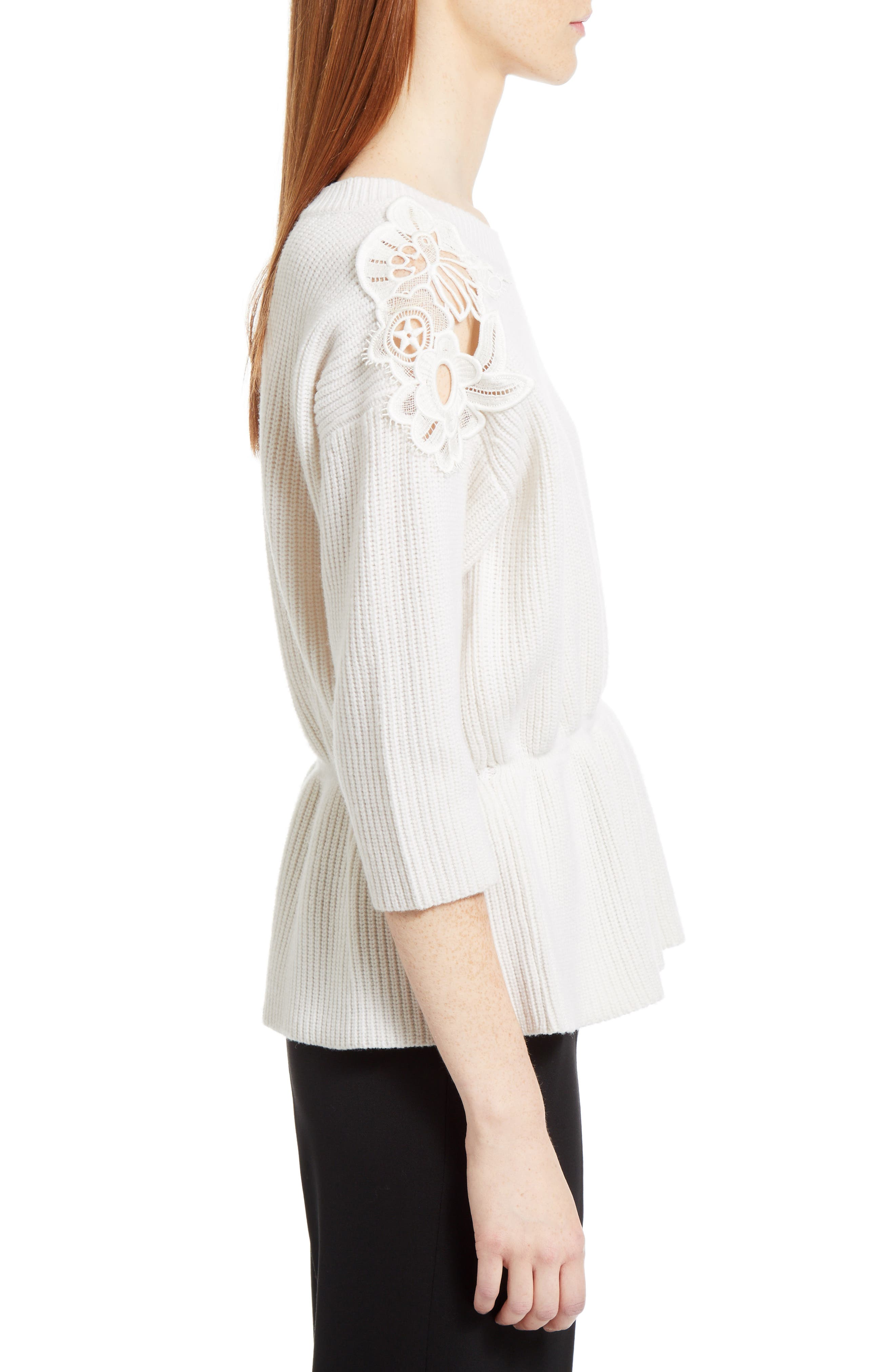Lace Trim Merino Wool & Cashmere Sweater,                             Alternate thumbnail 4, color,                             Milk