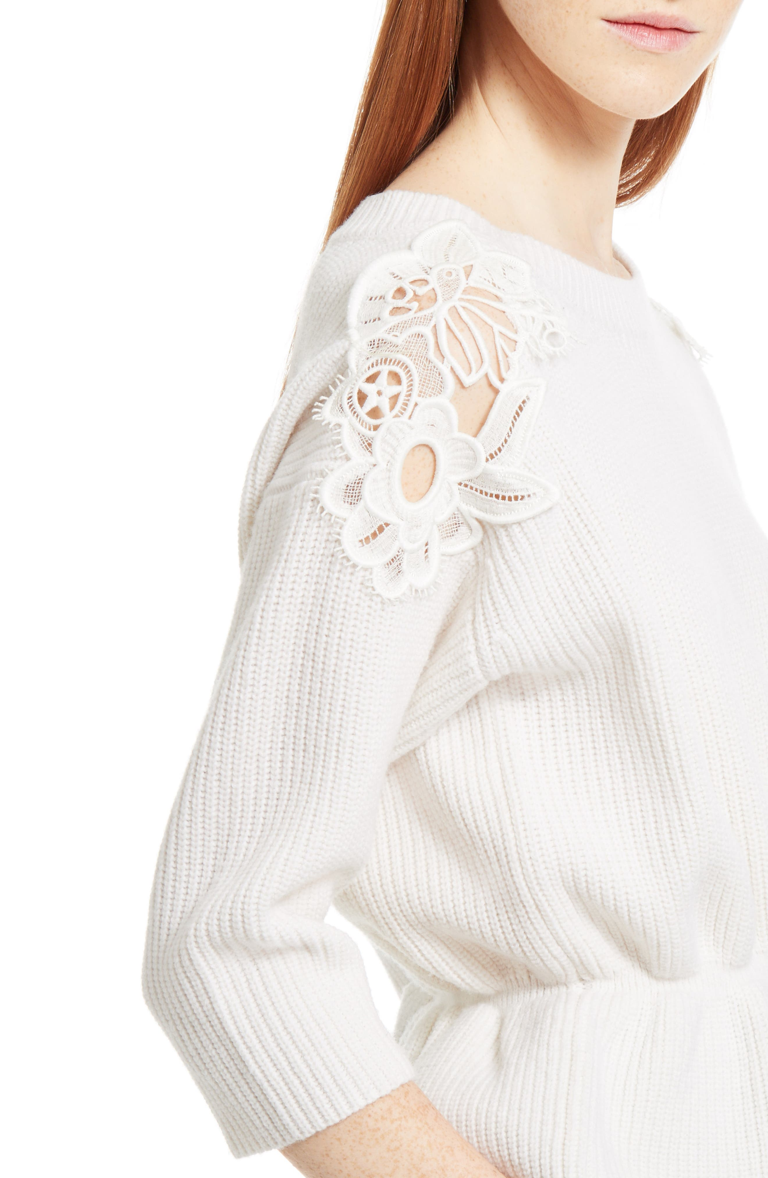 Lace Trim Merino Wool & Cashmere Sweater,                             Alternate thumbnail 5, color,                             Milk