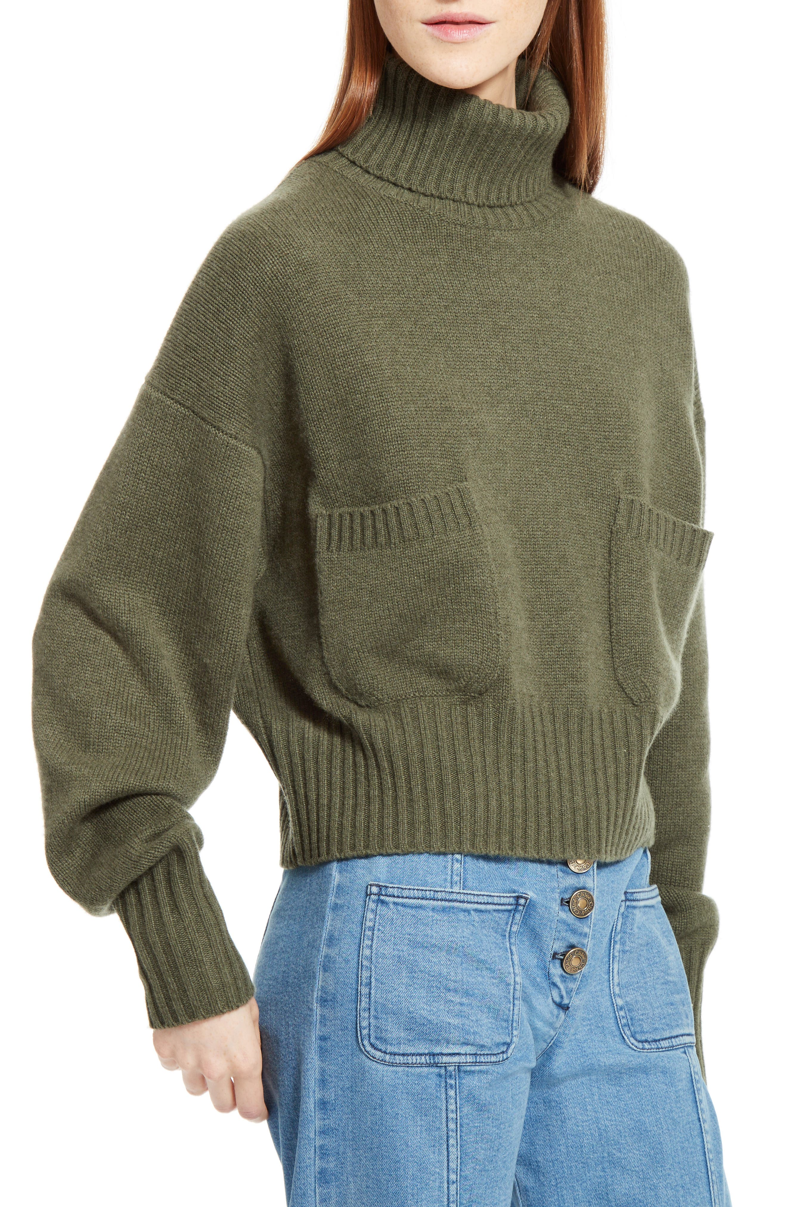 Iconic Cashmere Turtlenck Sweater,                             Alternate thumbnail 5, color,                             Night Forest