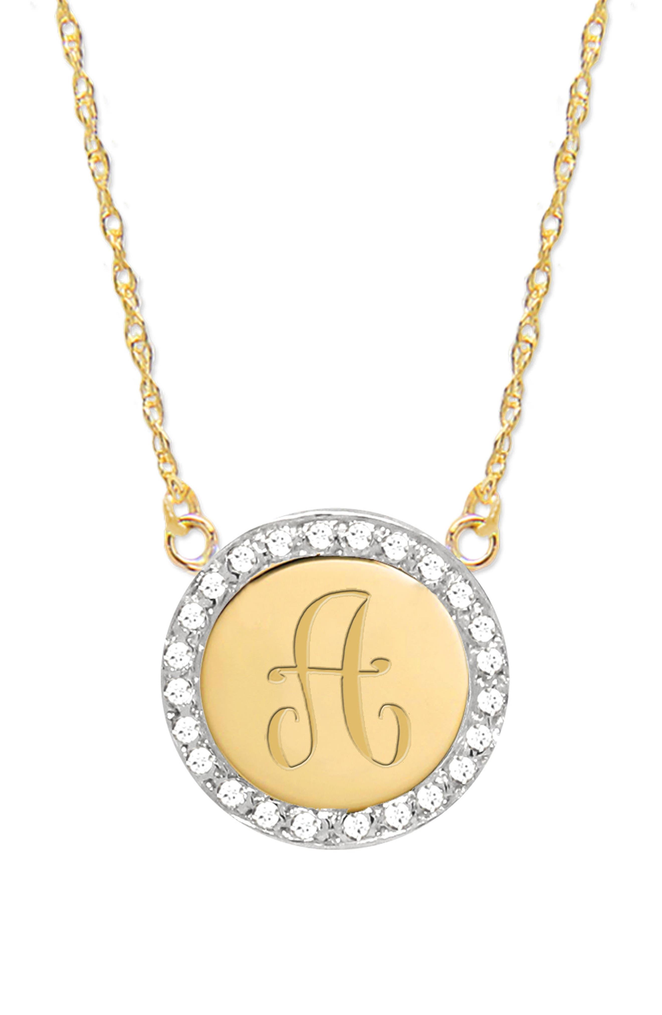 Diamond Halo Initial Pendant Necklace,                         Main,                         color, Gold- A