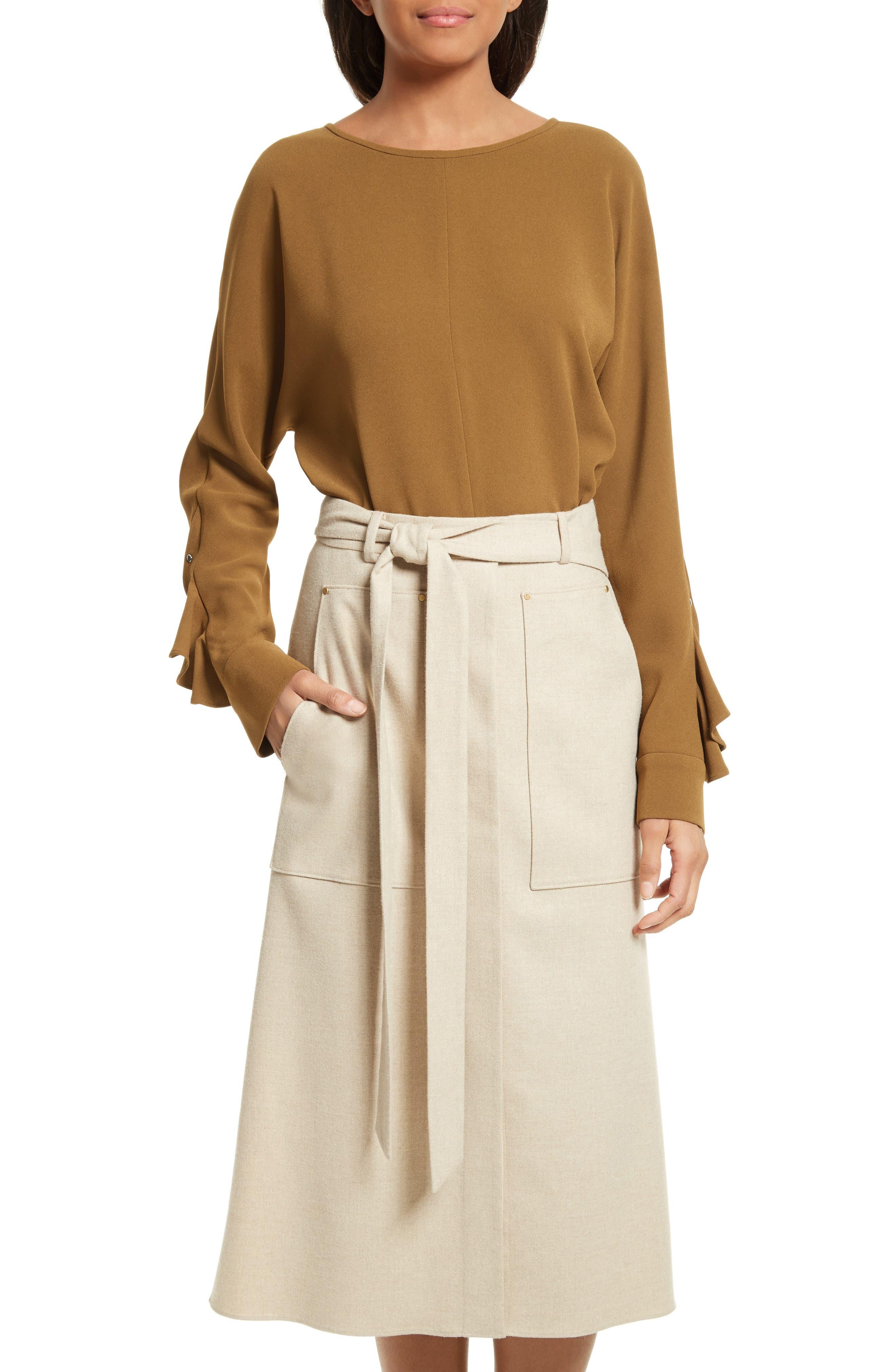 Ruffle Sleeve Dolman Top,                         Main,                         color, Loden