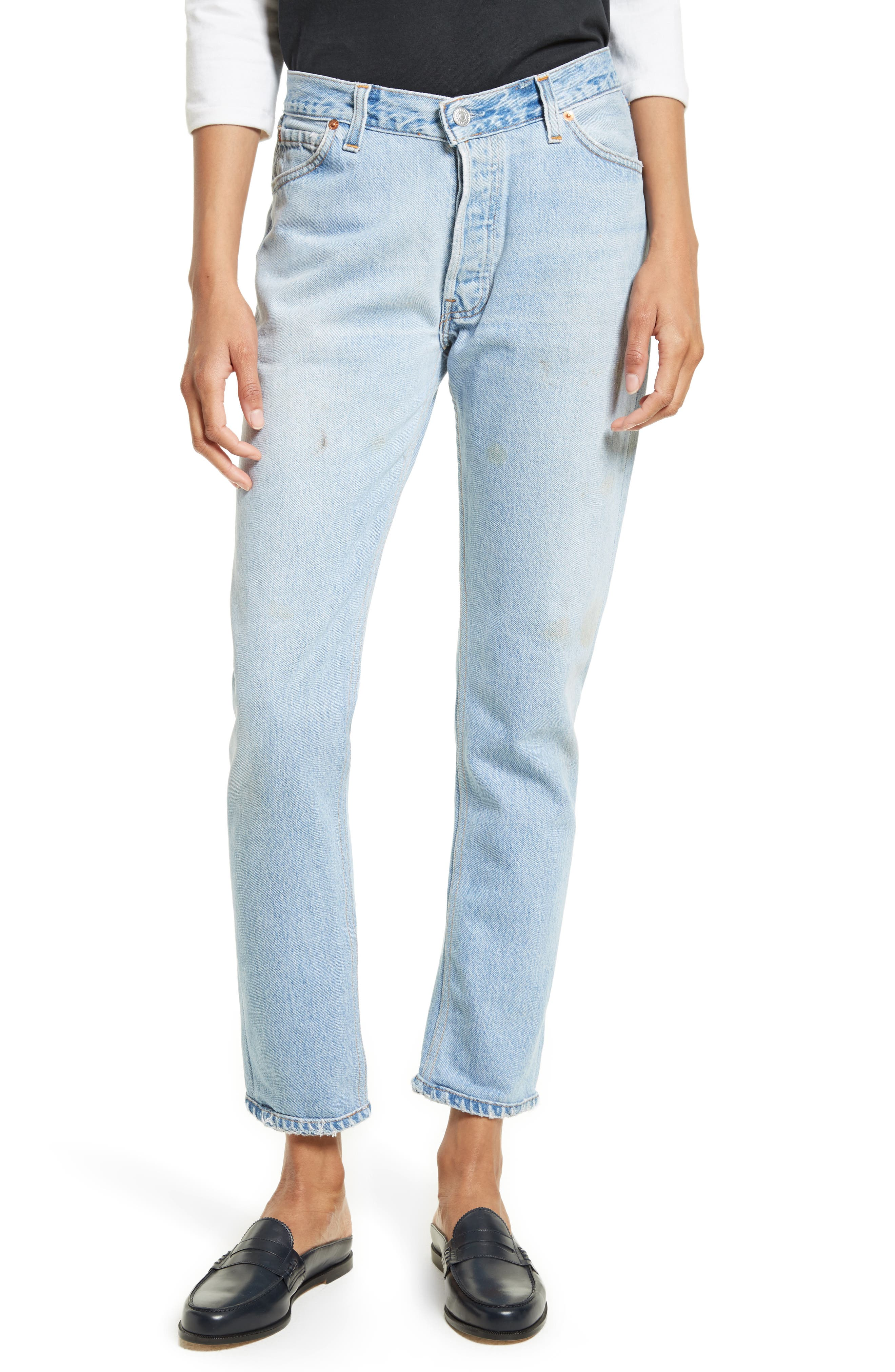 Reconstructed Relaxed Straight Jeans,                         Main,                         color, No Destruction