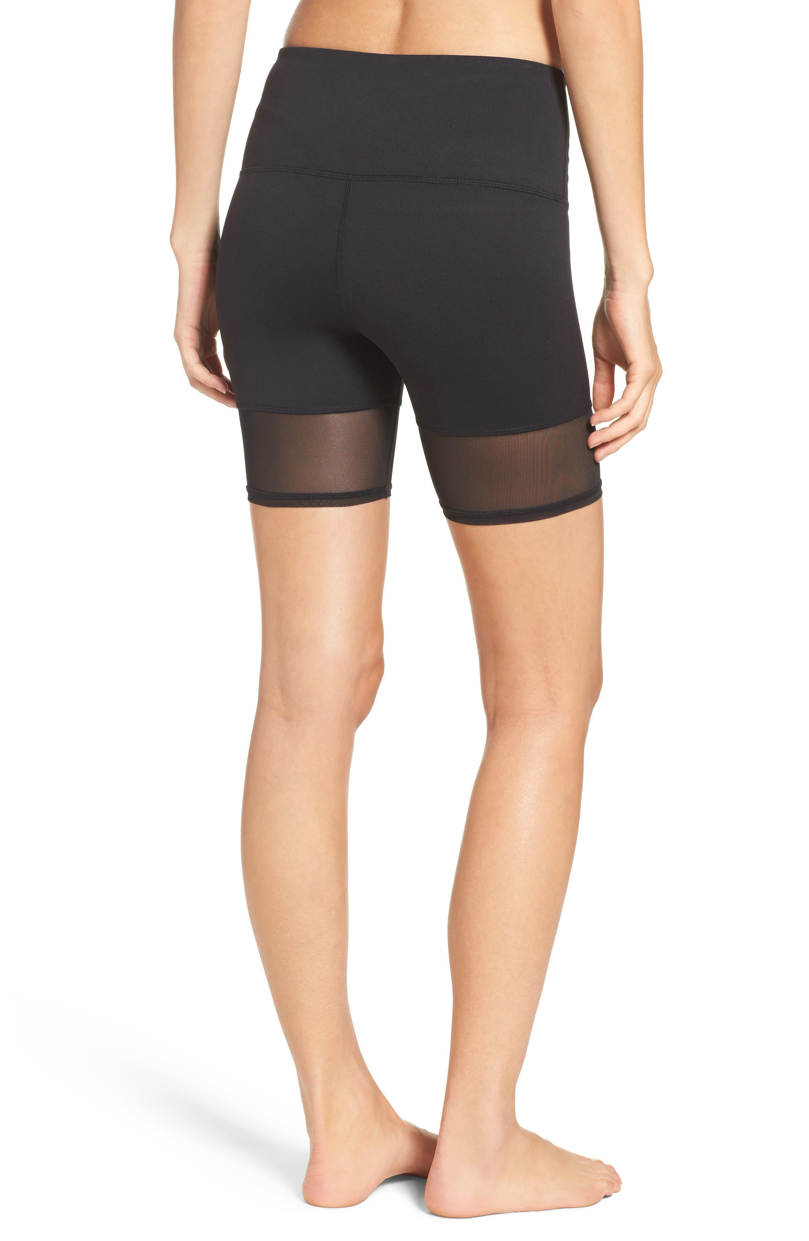 Mia High Waist Mesh Bike Shorts,                             Alternate thumbnail 2, color,                             Black
