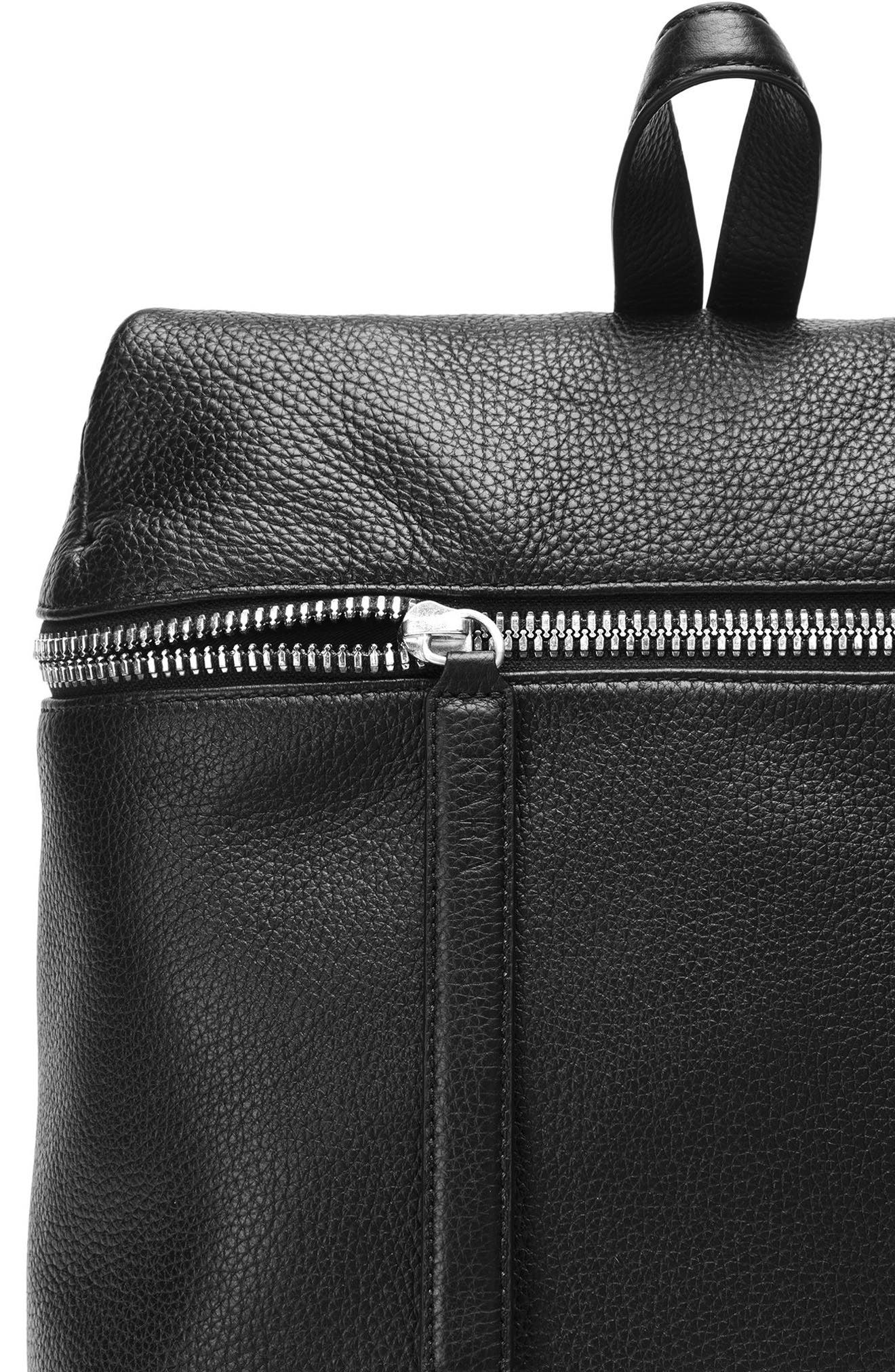 Leather Backpack,                             Alternate thumbnail 6, color,                             Black