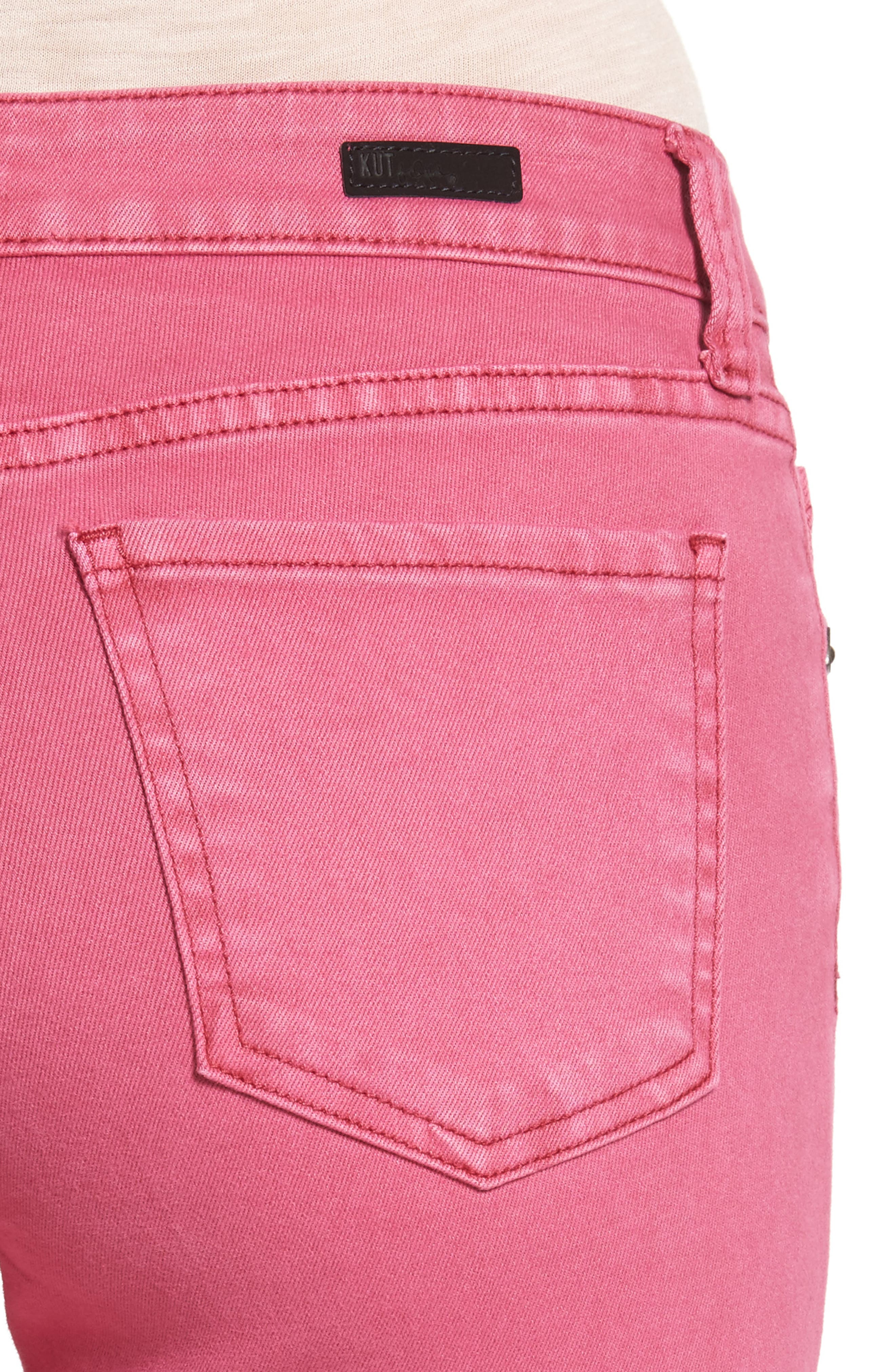 Alternate Image 4  - KUT from the Kloth Connie Frayed Hem Crop Skinny Jeans (Hot Pink)