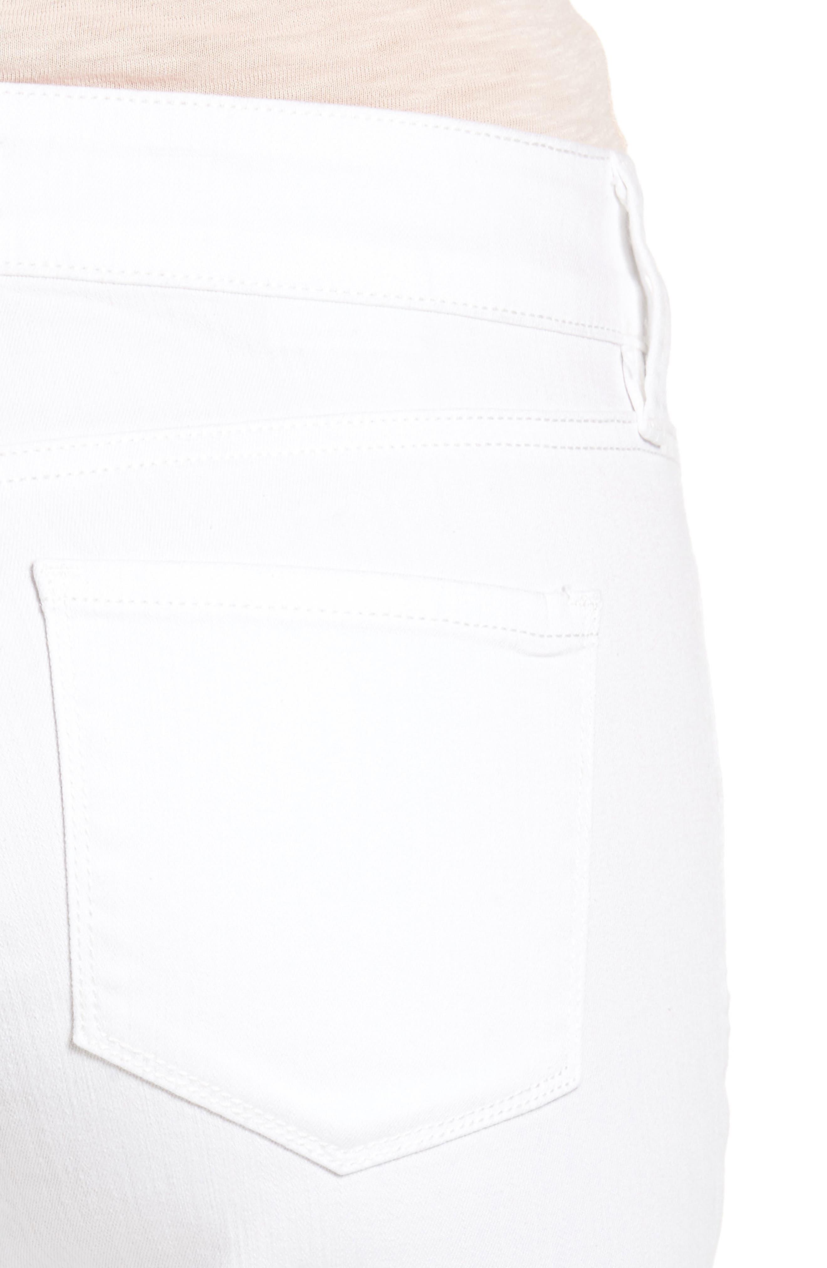 Alina Eyelet Hem Stretch Skinny Jeans,                             Alternate thumbnail 5, color,                             Optic White
