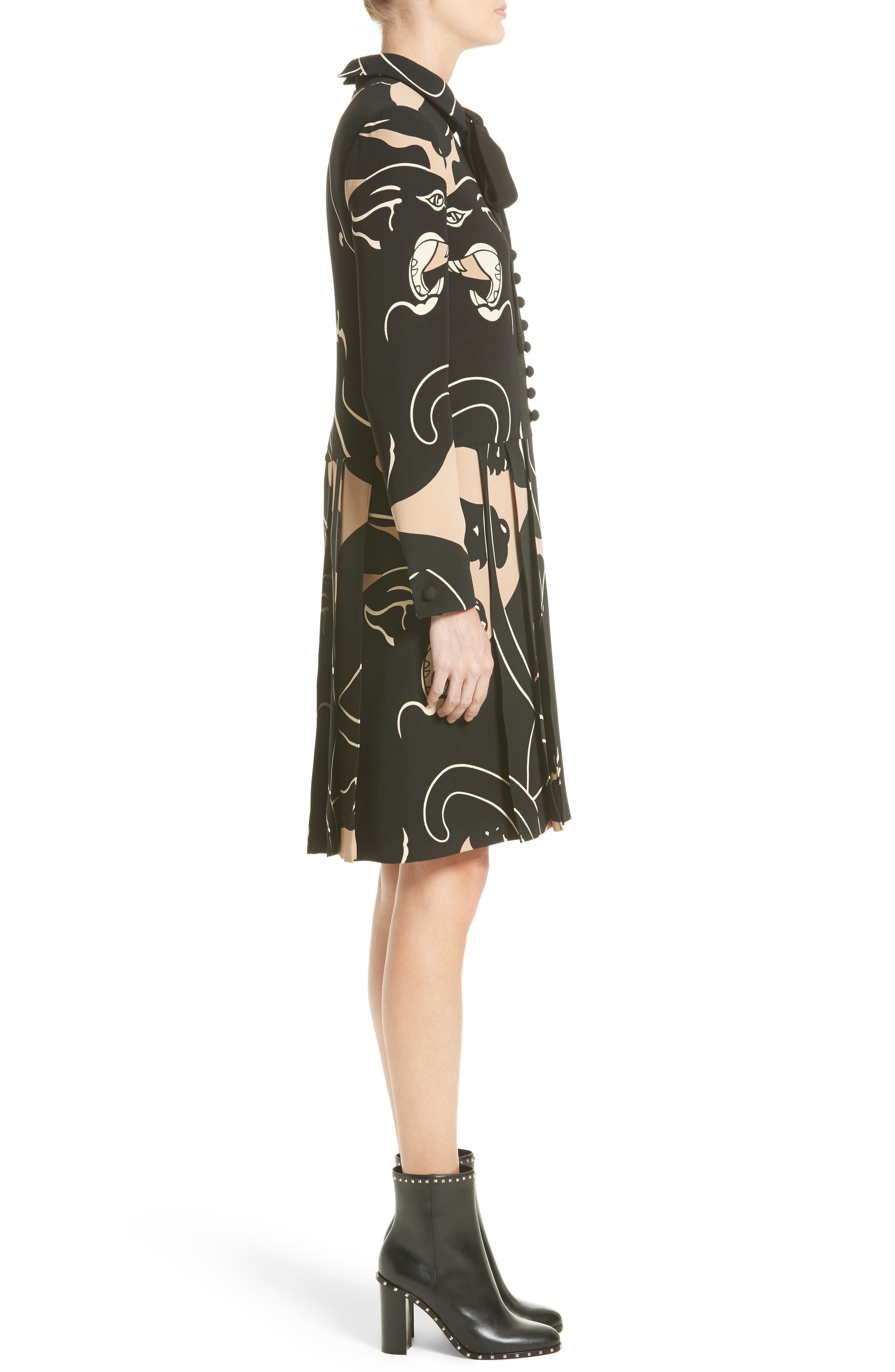 Alternate Image 5  - Valentino Panther Print Tie Neck Silk Cady Dress