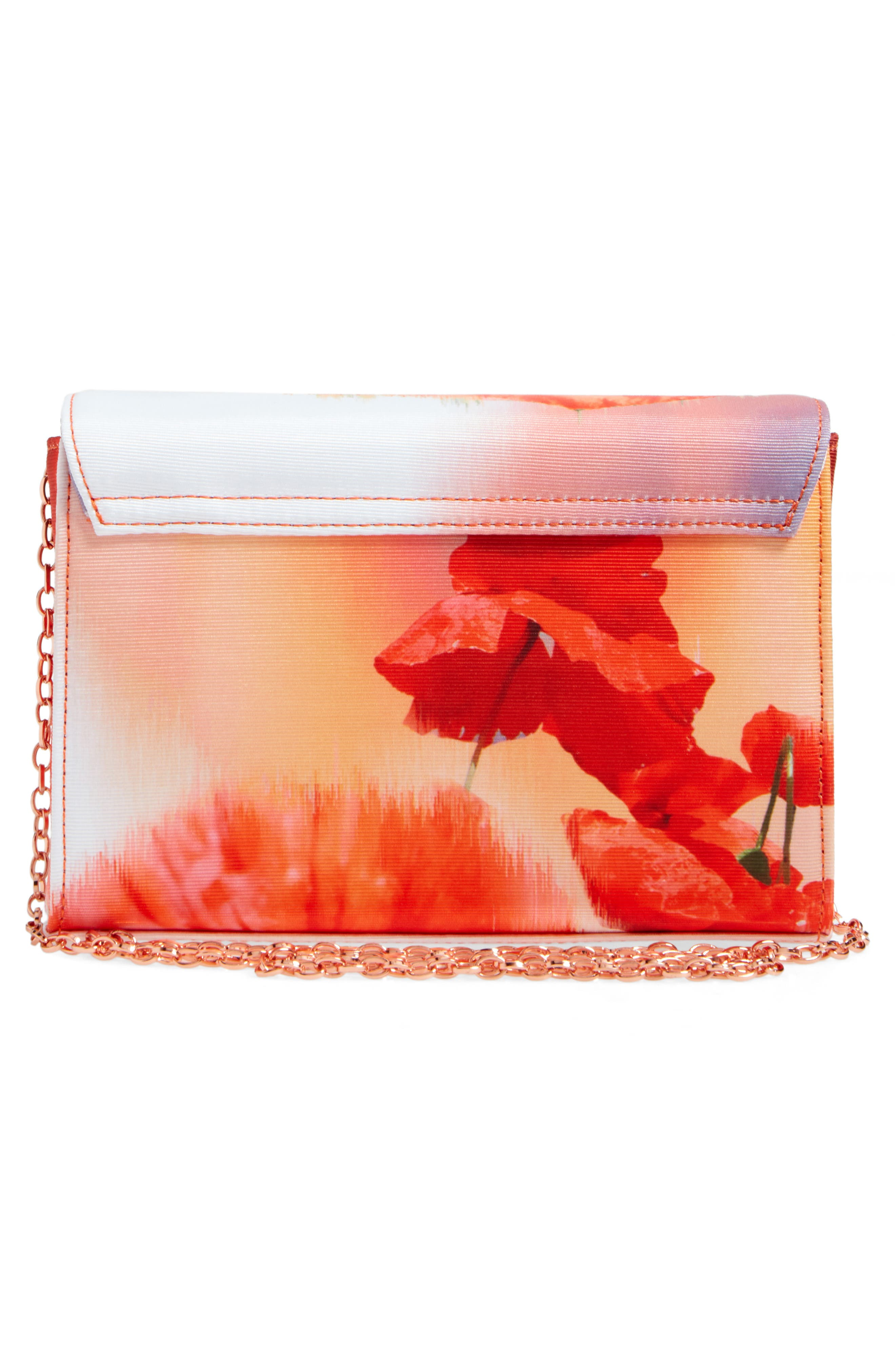 Playful Poppy Bow Clutch,                             Alternate thumbnail 3, color,                             Mid Red