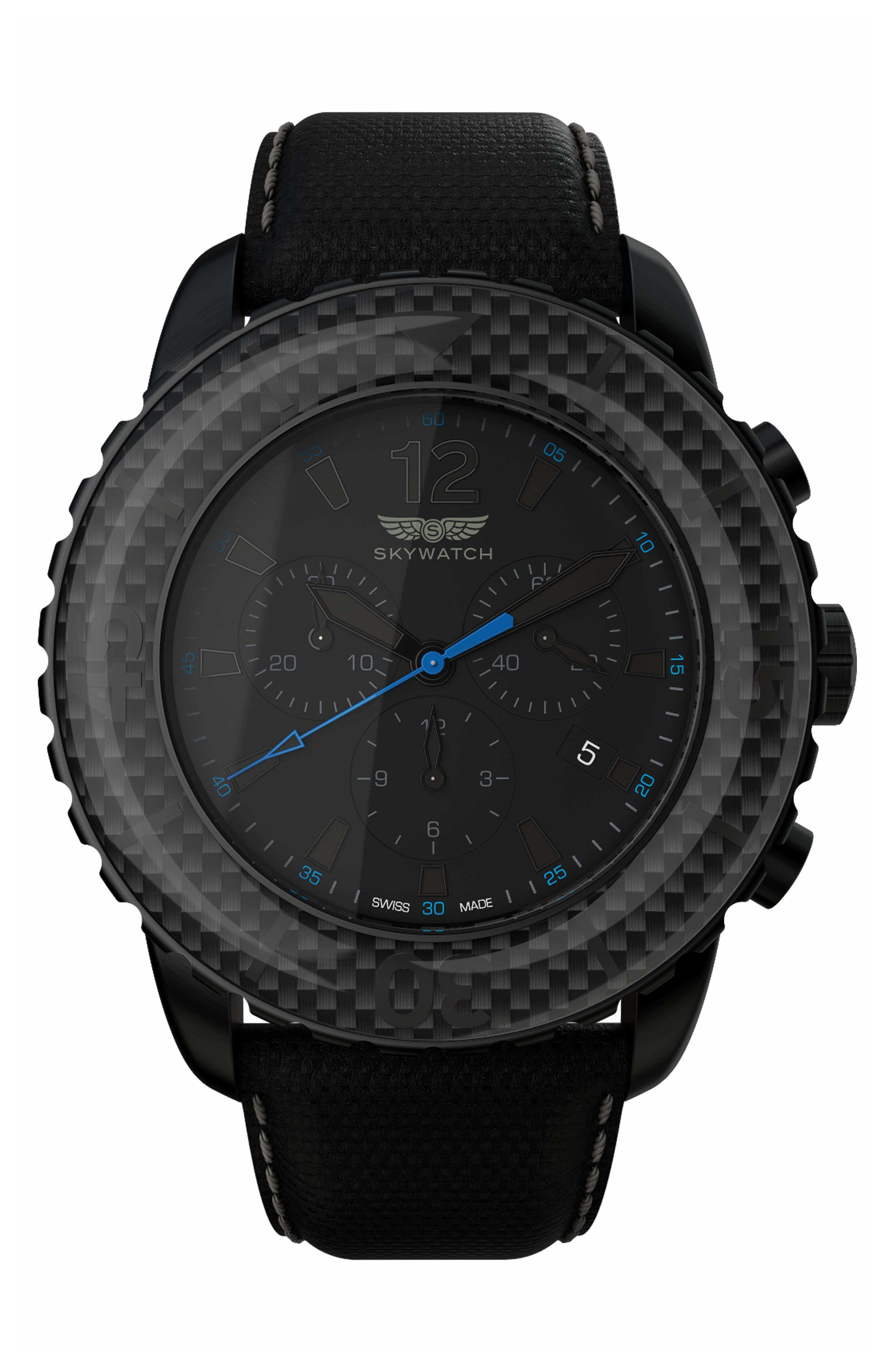 Main Image - SKYWATCH Classic Chronograph Woven Strap Watch, 46mm