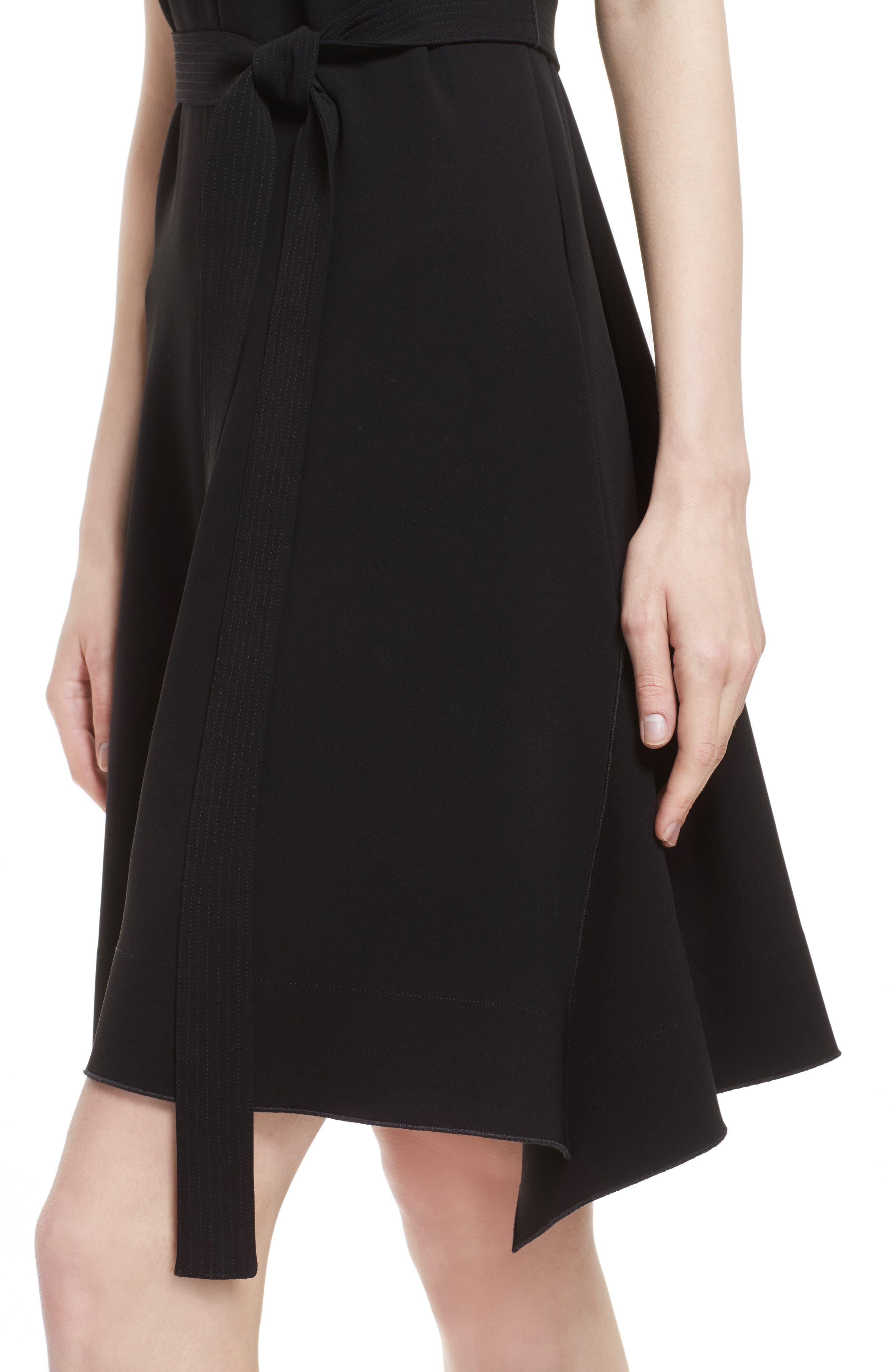 Desza Belted Admiral Crepe Fit & Flare Dress,                             Alternate thumbnail 4, color,                             Black