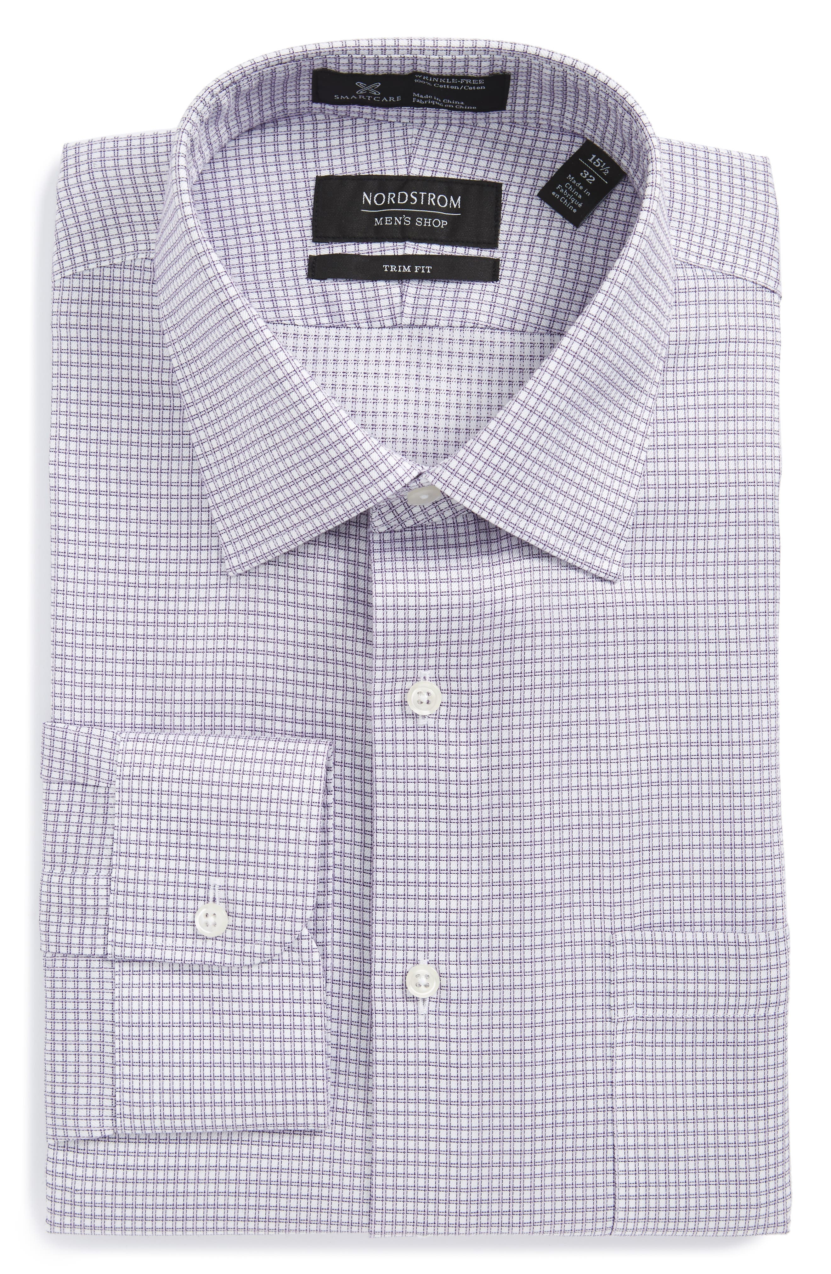 Smartcare<sup>™</sup> Trim Fit Check Dress Shirt,                             Main thumbnail 1, color,                             Purple Spray
