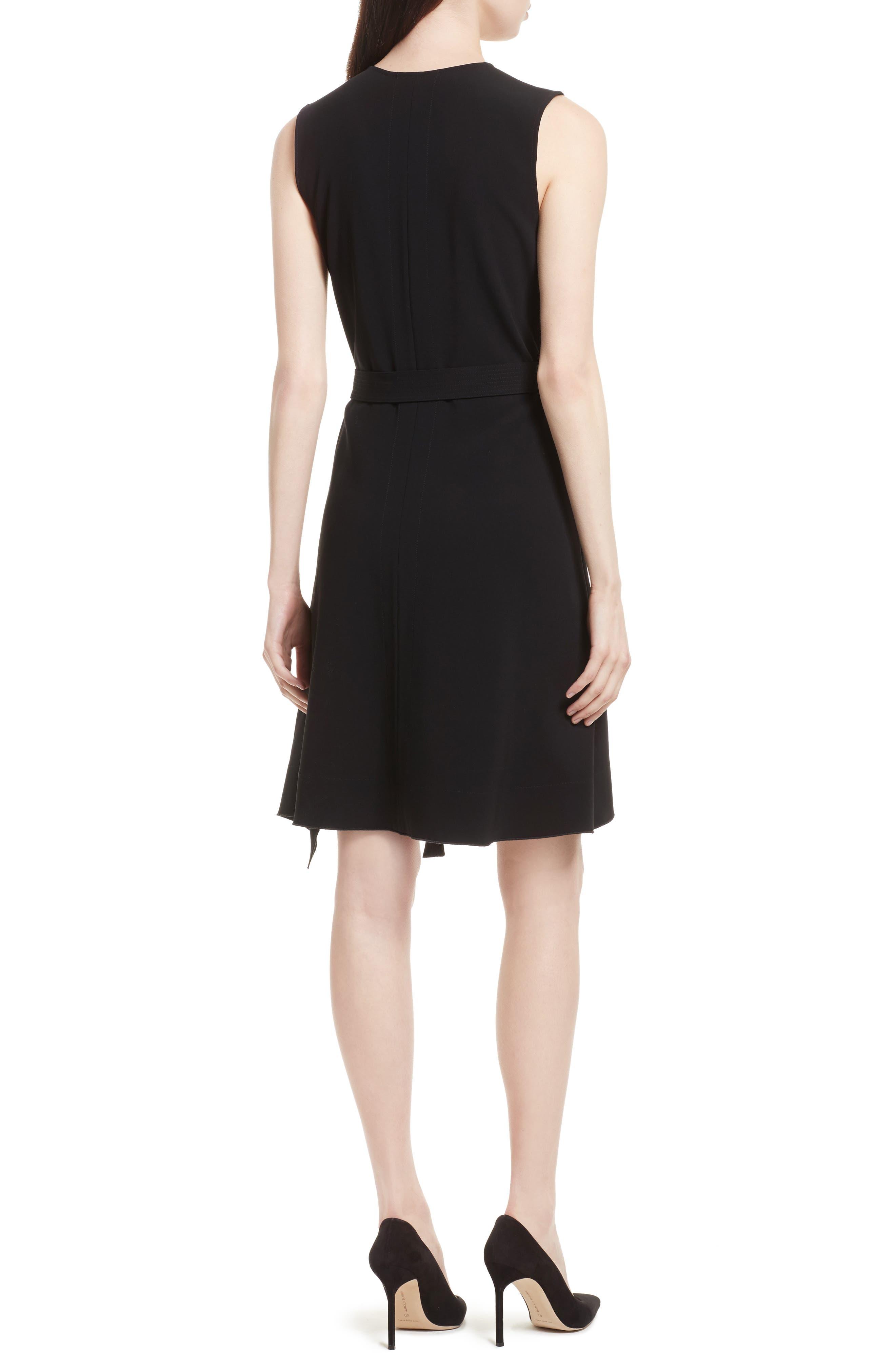 Desza Belted Admiral Crepe Fit & Flare Dress,                             Alternate thumbnail 2, color,                             Black