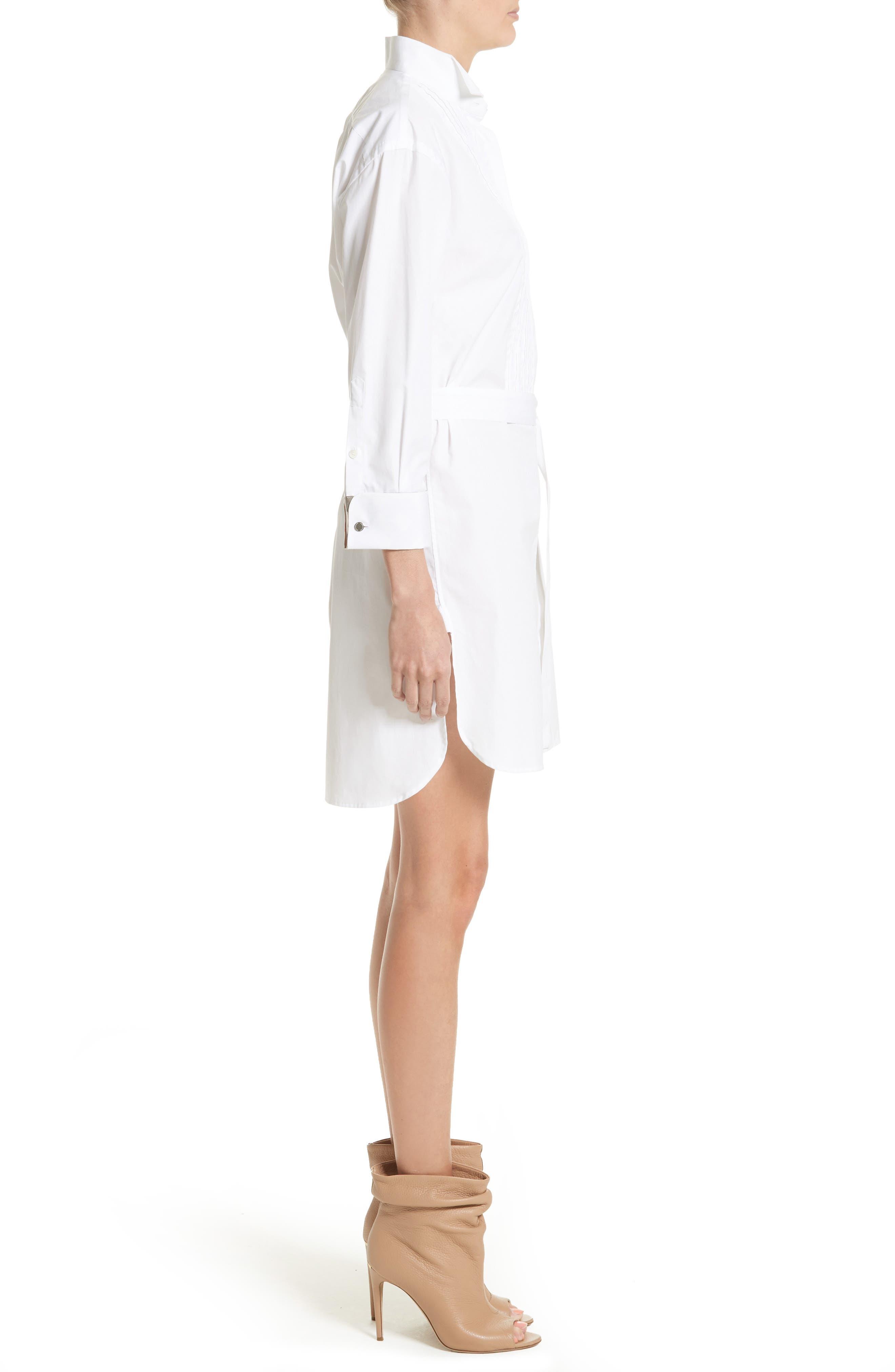Madeline Cotton Poplin Shirtdress,                             Alternate thumbnail 4, color,                             White